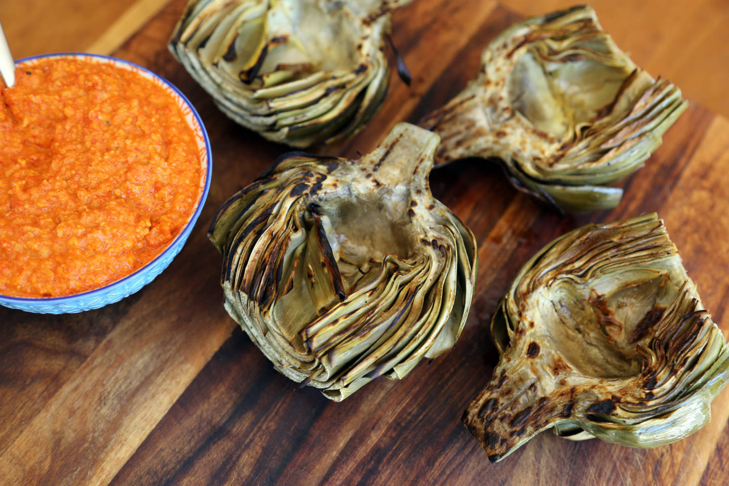 Springtime Grilled Artichokes with Romesco Sauce