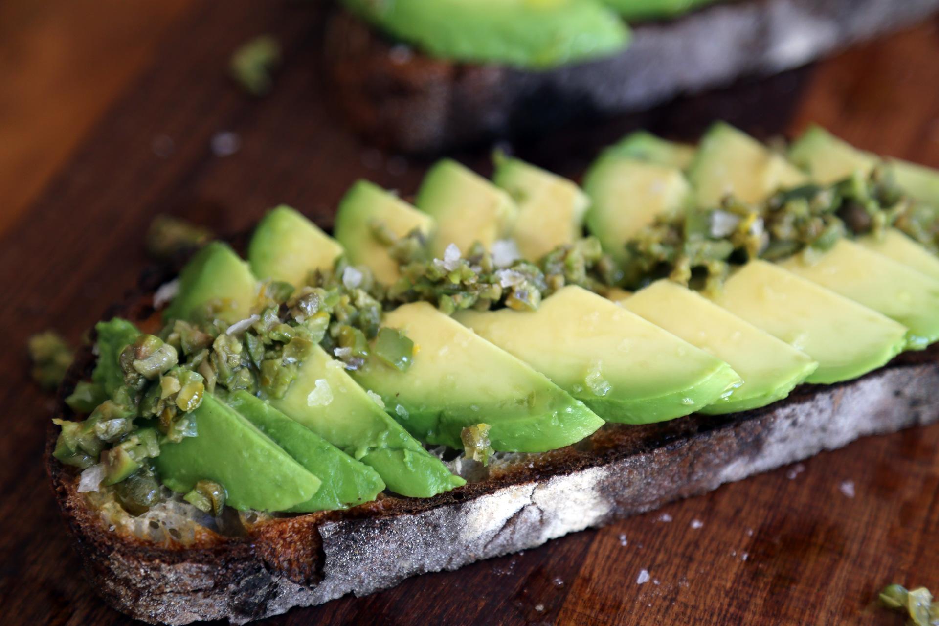 Springtime Avocado Toast with Green Olive Relish and Lemon