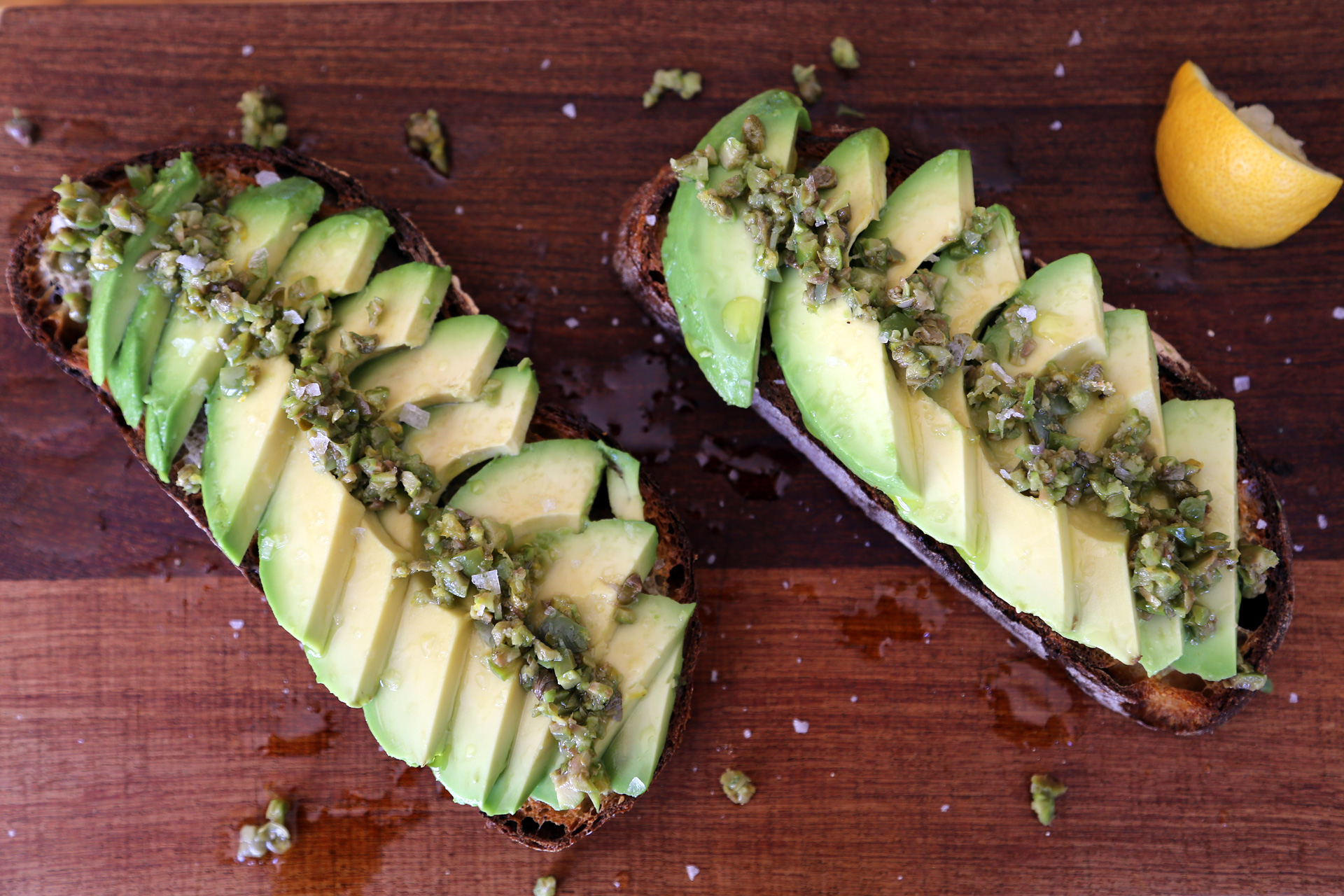Avocado Toast with Green Olive Relish and Lemon