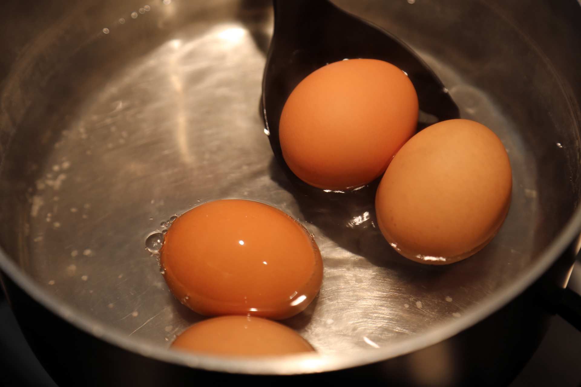 Gently lower the eggs into the simmering water using the slotted spoon.
