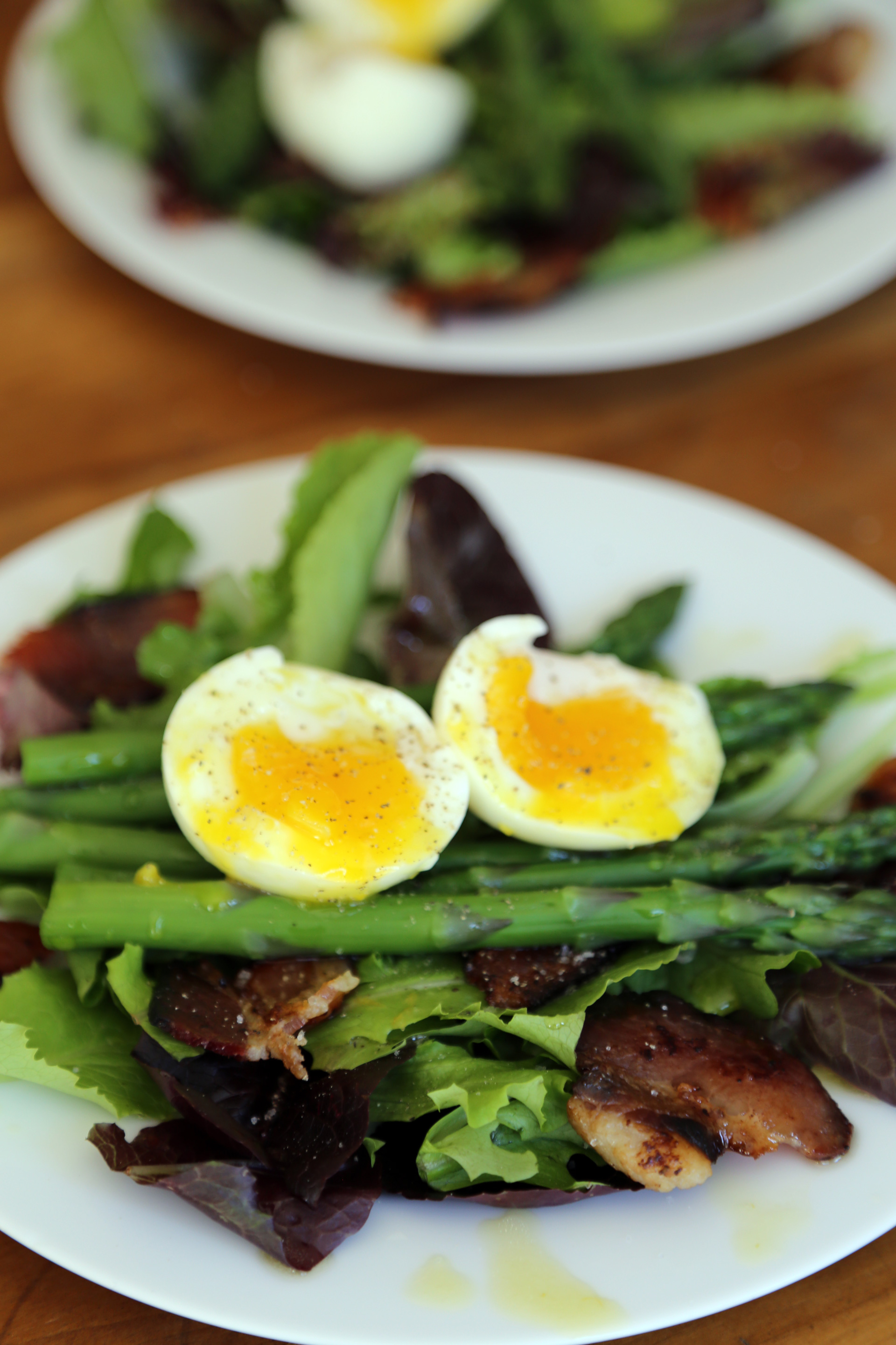 Mother's Day Breakfast Salad with Baby Greens, Soft Boiled Eggs, Asparagus, and Thick-Cut Bacon with Lemon-Pepper Vinaigrette