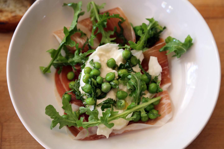 Salad of Burrata, Peas, Mint, Speck and Arugula Wendy Goodfriend