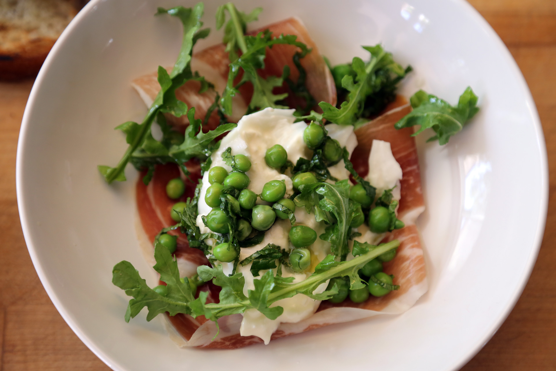 Salad of Burrata, Peas, Mint, Speck and Arugula