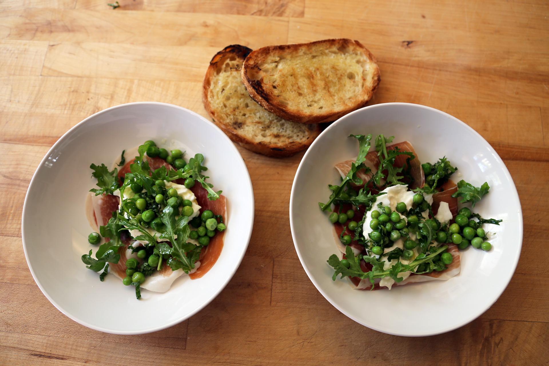 Burrata, Peas, Mint, Speck and Arugula Salad with Grilled Toast