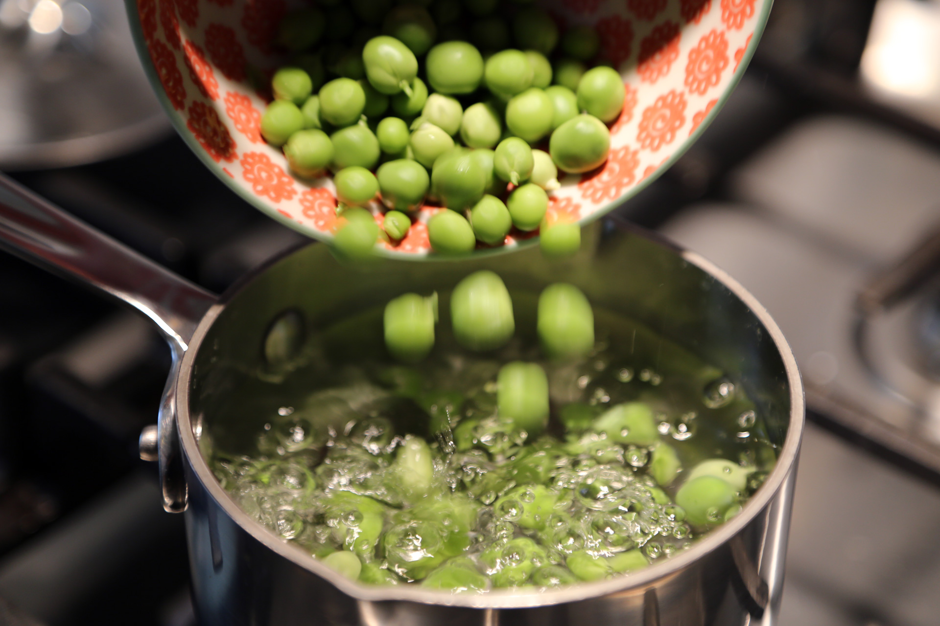 Add the peas and cook until tender, about 5 minutes.