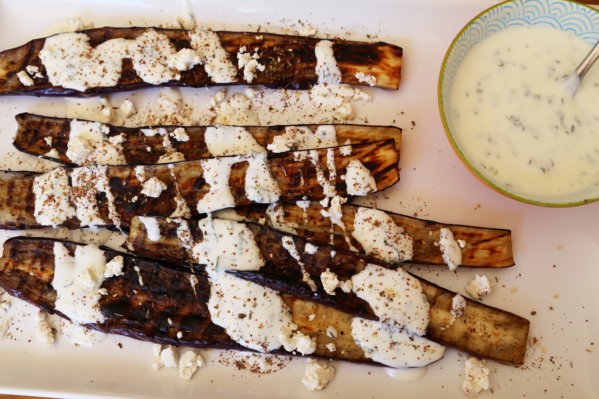 Grilled Japanese Eggplant with Yogurt, Za'atar, Mint & Feta