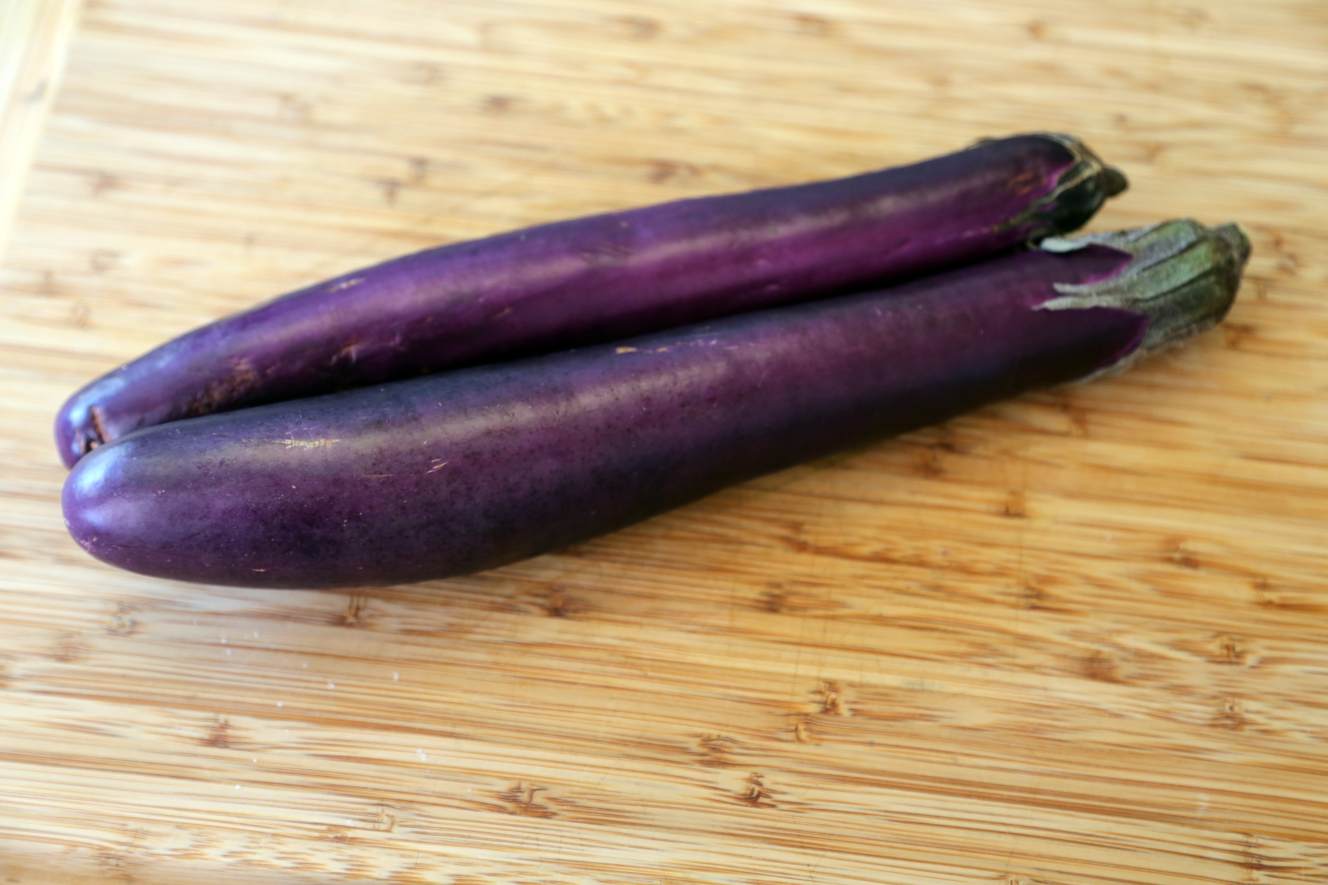 I love the sweetness of narrow Japanese eggplants, and chose those to slice into planks and grill.