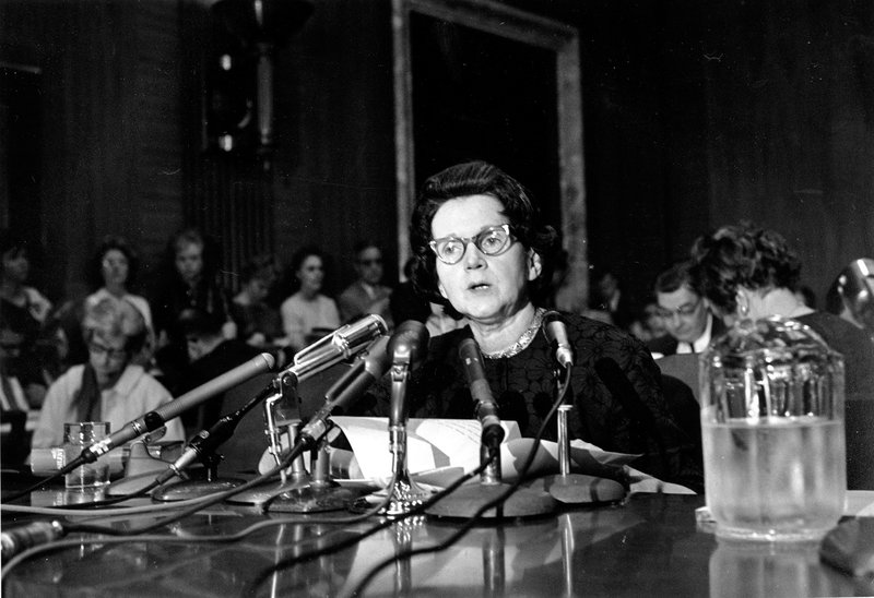 Silent Spring author Rachel Carson testifies before a Senate panel on pesticides in 1963.