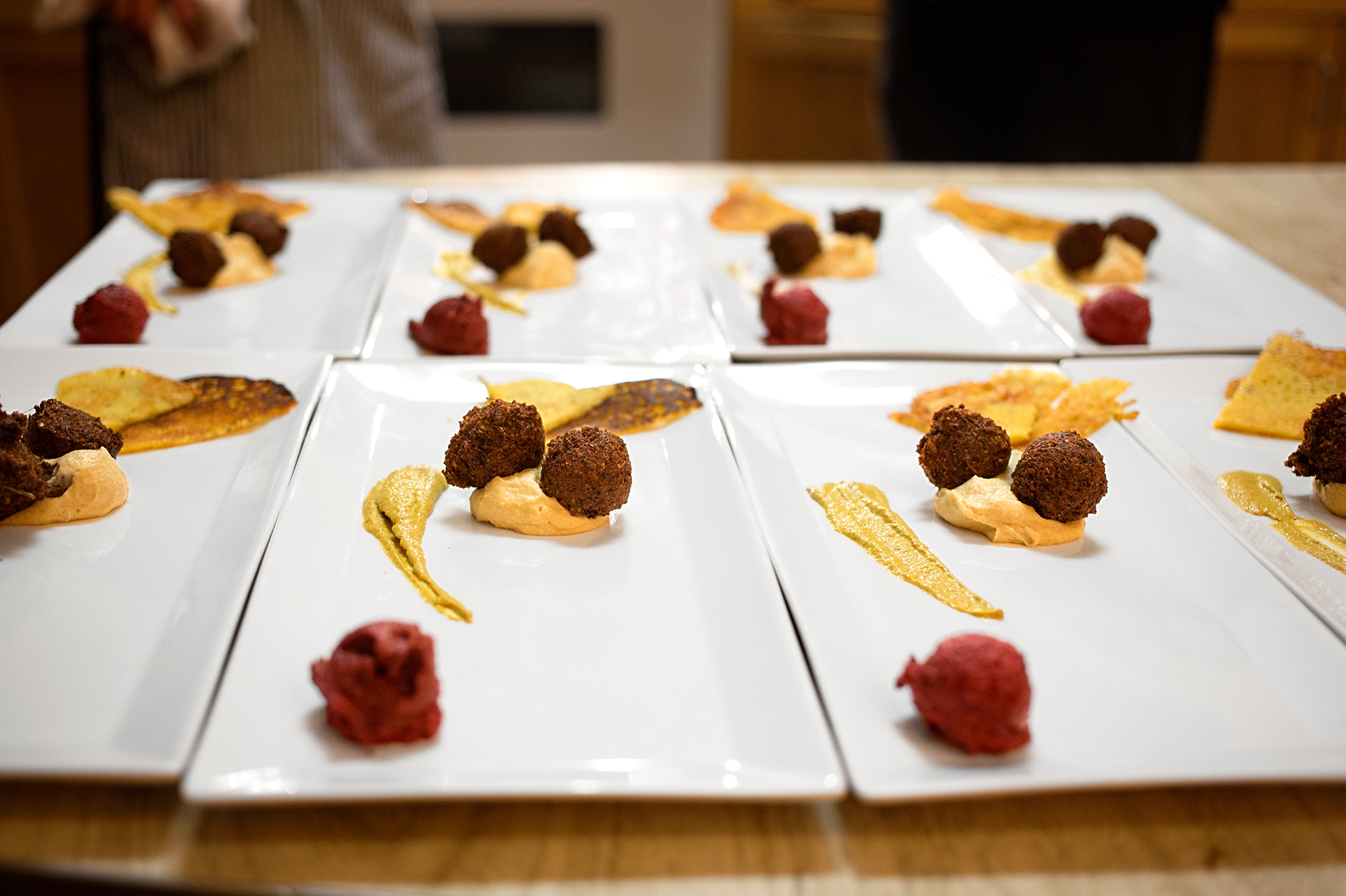 One of musician-turned-chef Philip Gelb's culinary creations for his Sound & Savor series of dinners and concerts. It's a mezze plate of falafel, roasted garlic hummus, beet nut pate, pepper pecan sauce and socca, a thin pancake made of chickpea flour.