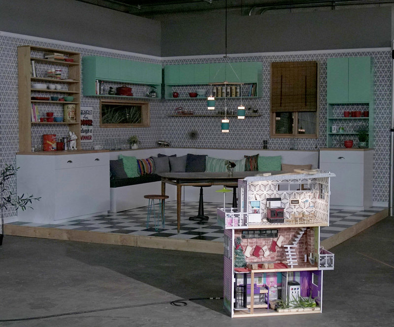 Even the dollhouse where Tiny Kitchen is filmed sits in the midst of a gigantic soundstage.