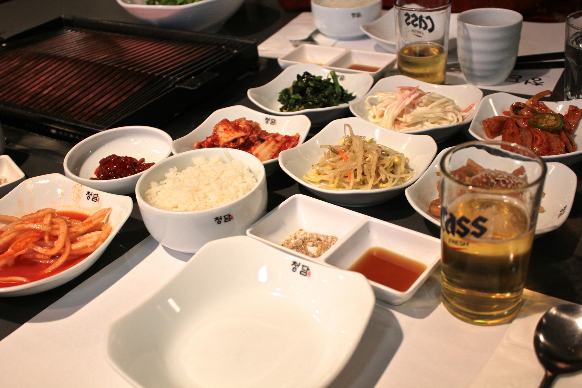 The banchan selections at Chungdam.
