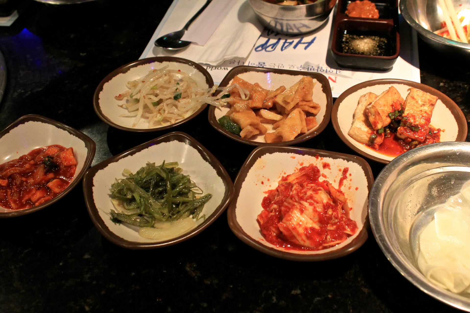 The banchan selections at Gooyi Gooyi.