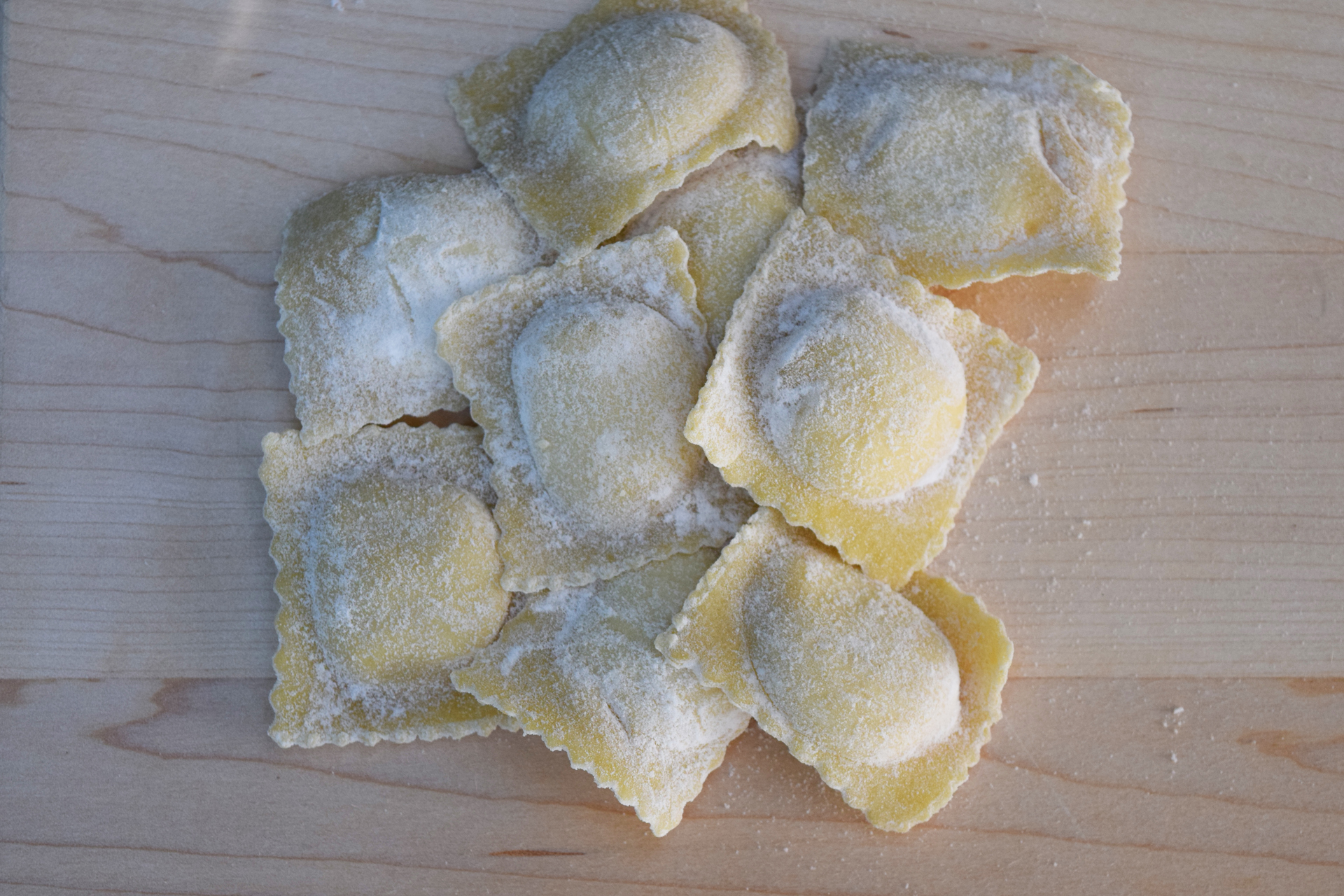 Fat pillows filled with a delicious ricotta cheese and fresh English pea mixture is just one of around 10 frozen ravioli available at the Home Maid store.