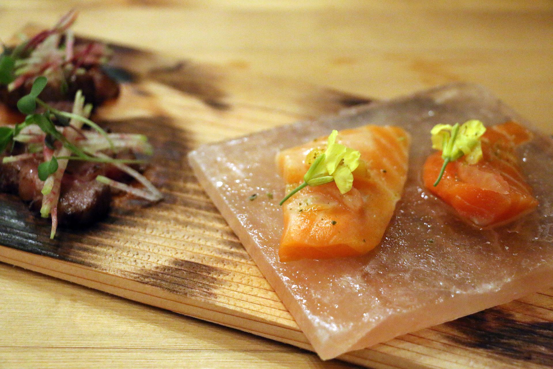 Surf and turf: raw salmon and seared Wagyu beef.