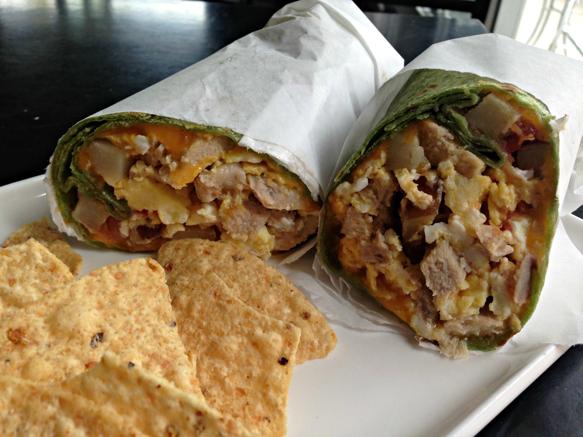 Pork breakfast burrito at Tribu Cafe.