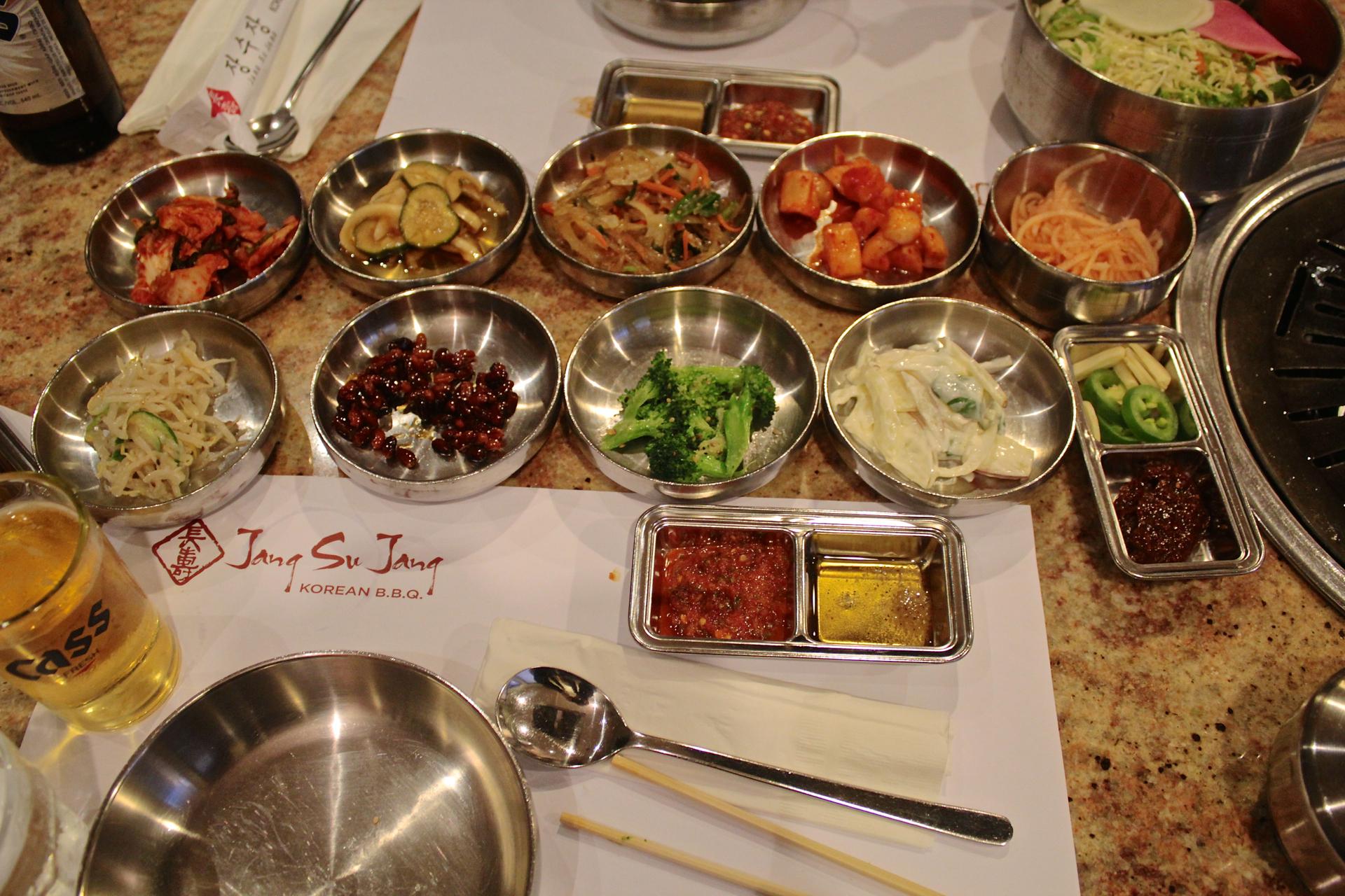 The banchan selections at Jang Su Jang.