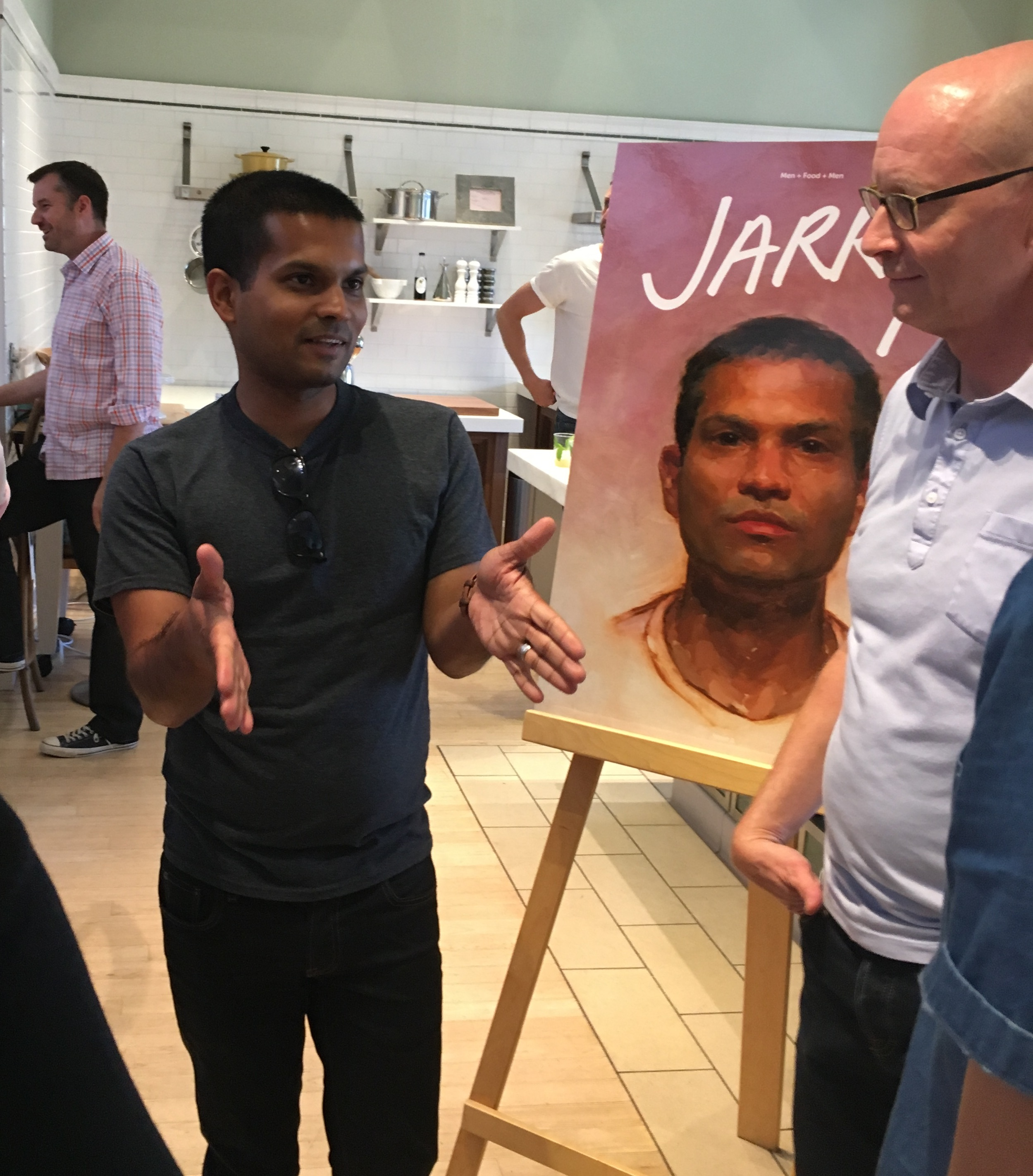 Photographer Nik Sharma and writer John Birdsall, with portrait of Sharma by Patrick Byrnes from Jarry issue 2.