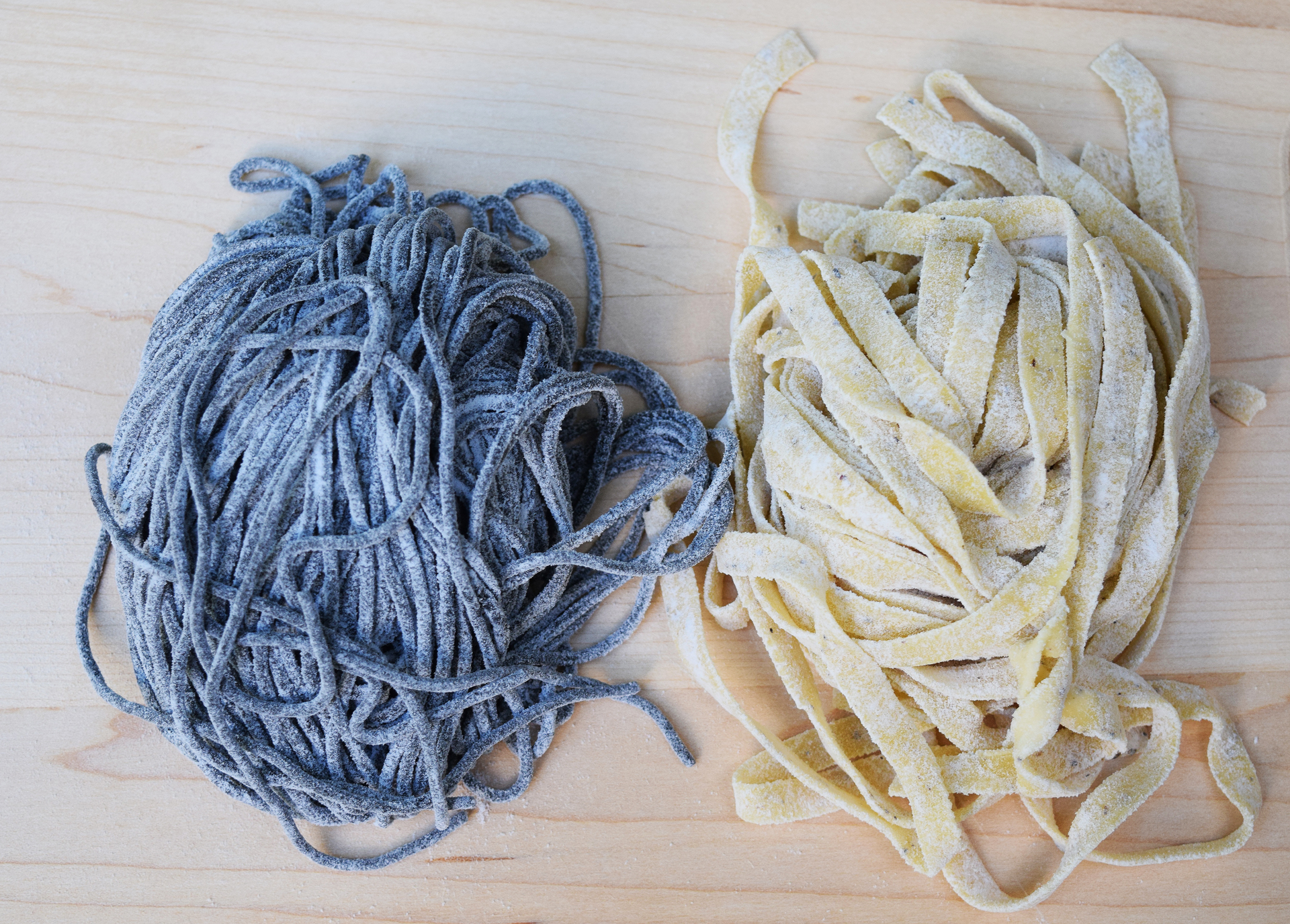 Fresh squid ink linguine and lemon pepper fettuccini from Pasta Pasta in downtown San Mateo are among one of the region's largest assortments of fresh pasta.