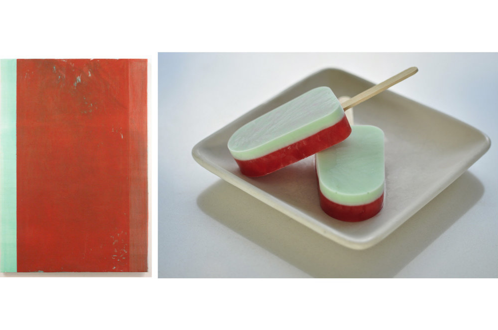 John Zurier's minimalist painting Arabella inspired these simple strawberry and mint popsicles.