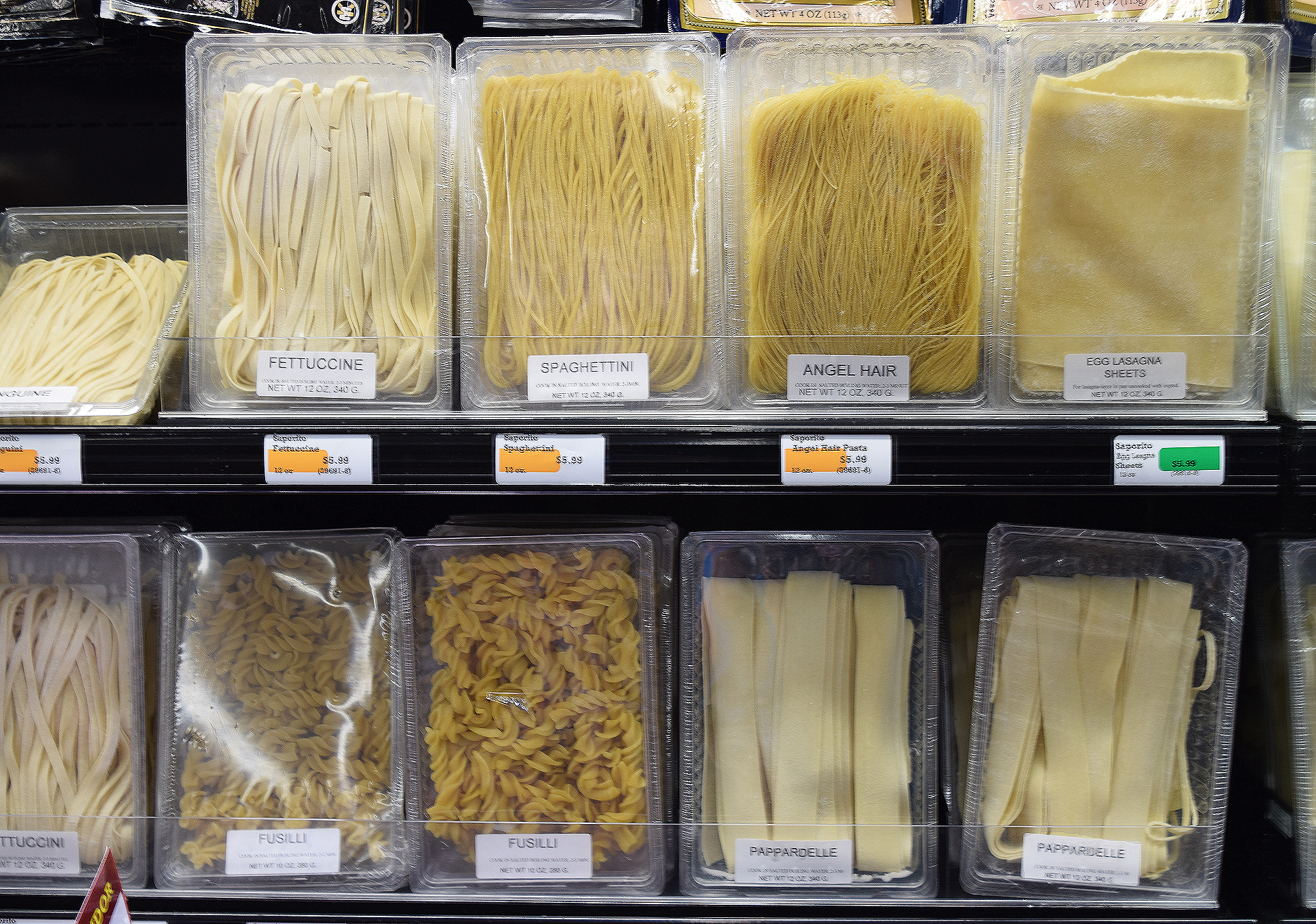 Sigona's carries a broad selection of the reasonably priced fresh pasta noodles from Saporito, whose plant is in Redwood City. The noodles are a tad thinner than those from other producers and when cooked have a pleasing flavor with still-toothy texture.