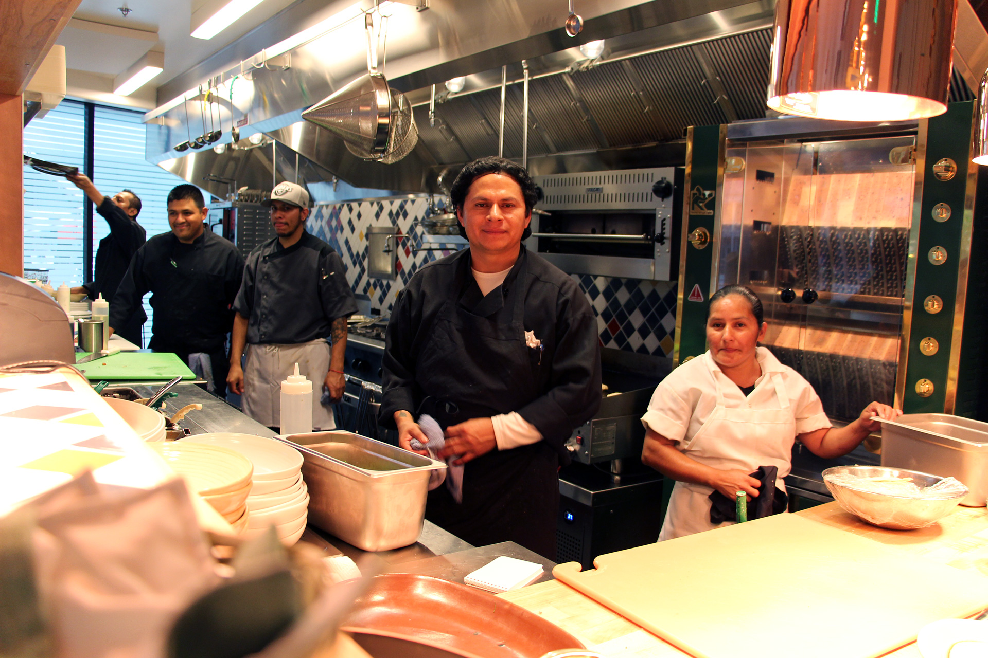 Agave Uptown's open kitchen and staff