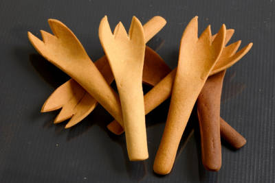Currently, Bakey's only sells spoons — but the company has developed prototypes of forks and chopsticks.