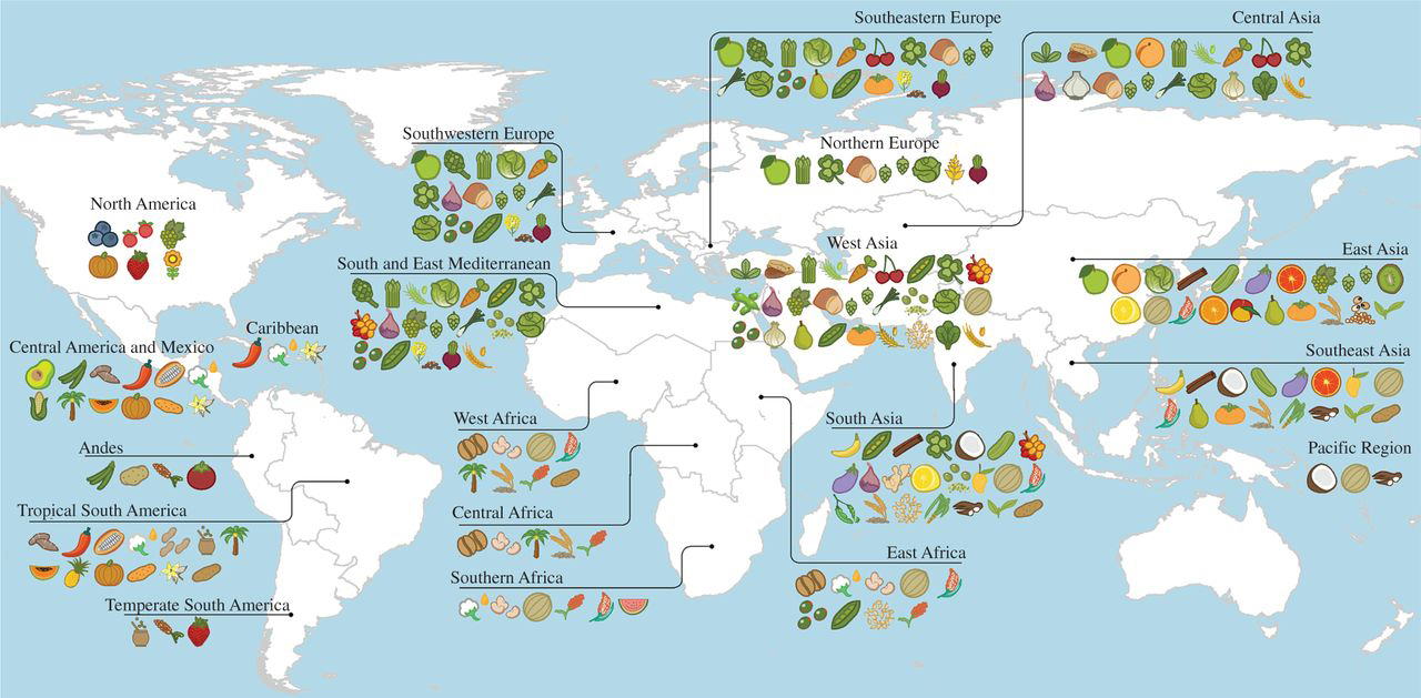 Primary regions of diversity of major agricultural crops worldwide.