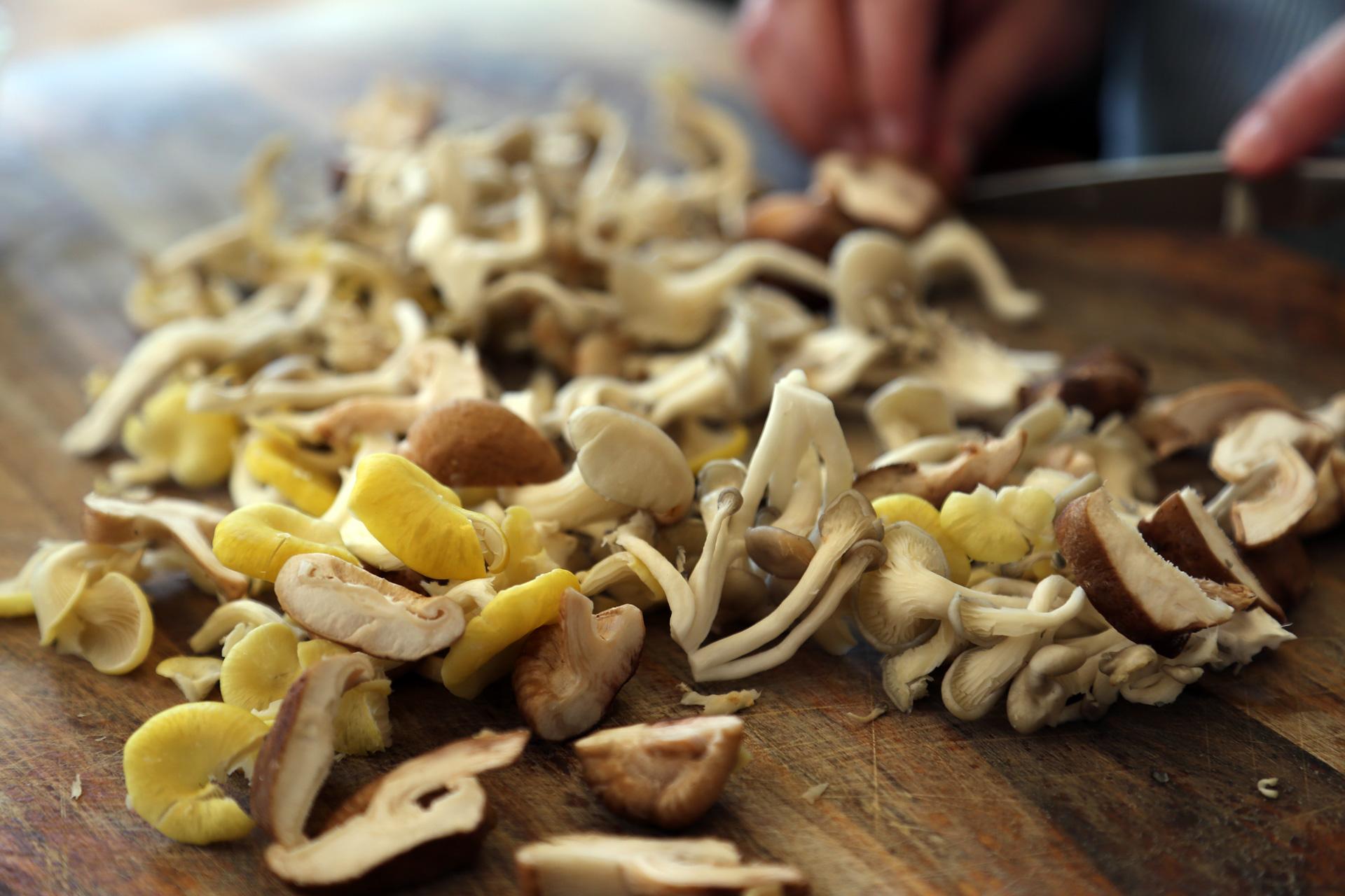 Chop the wild mushrooms