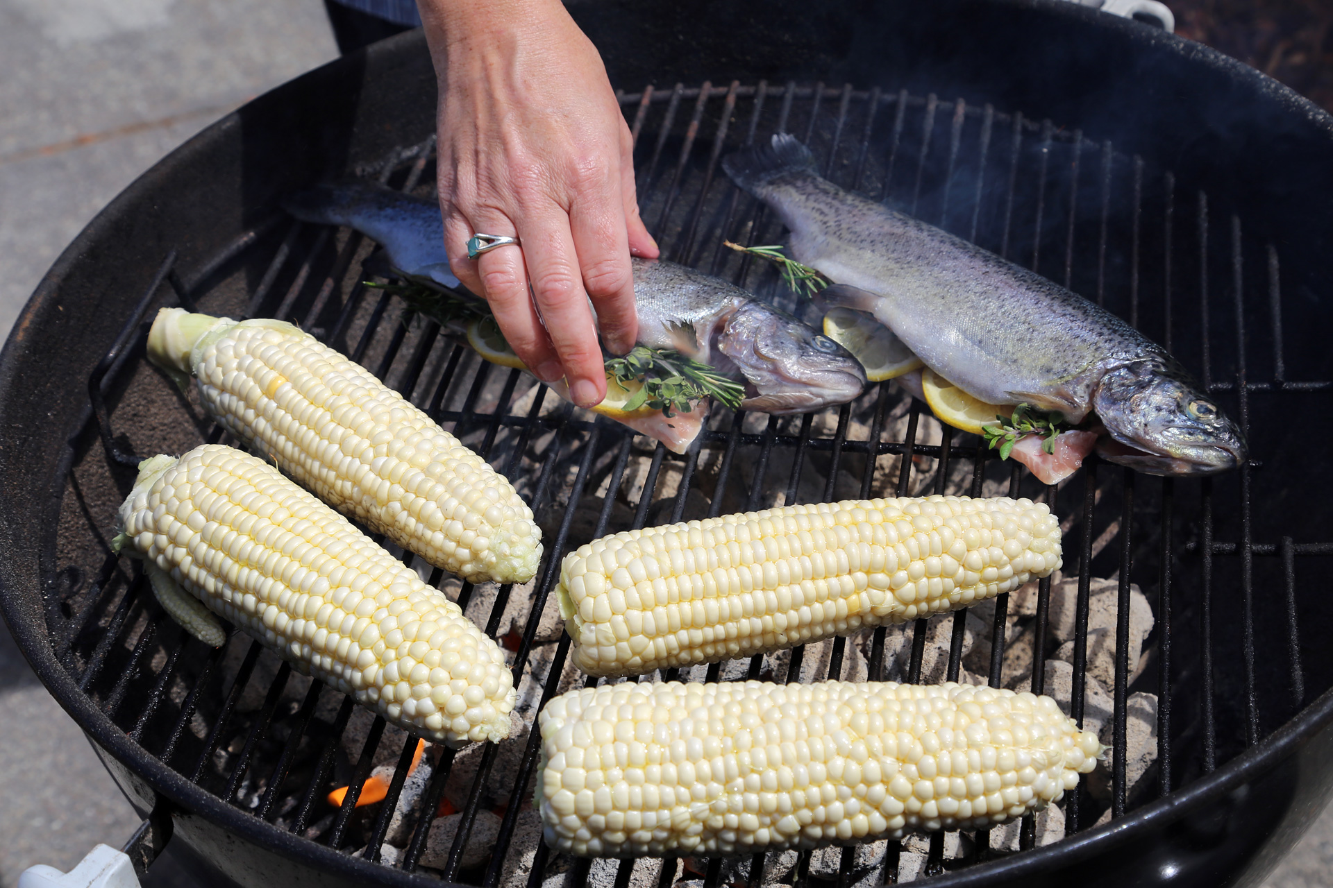 Add the trout to the grill directly over the fire.