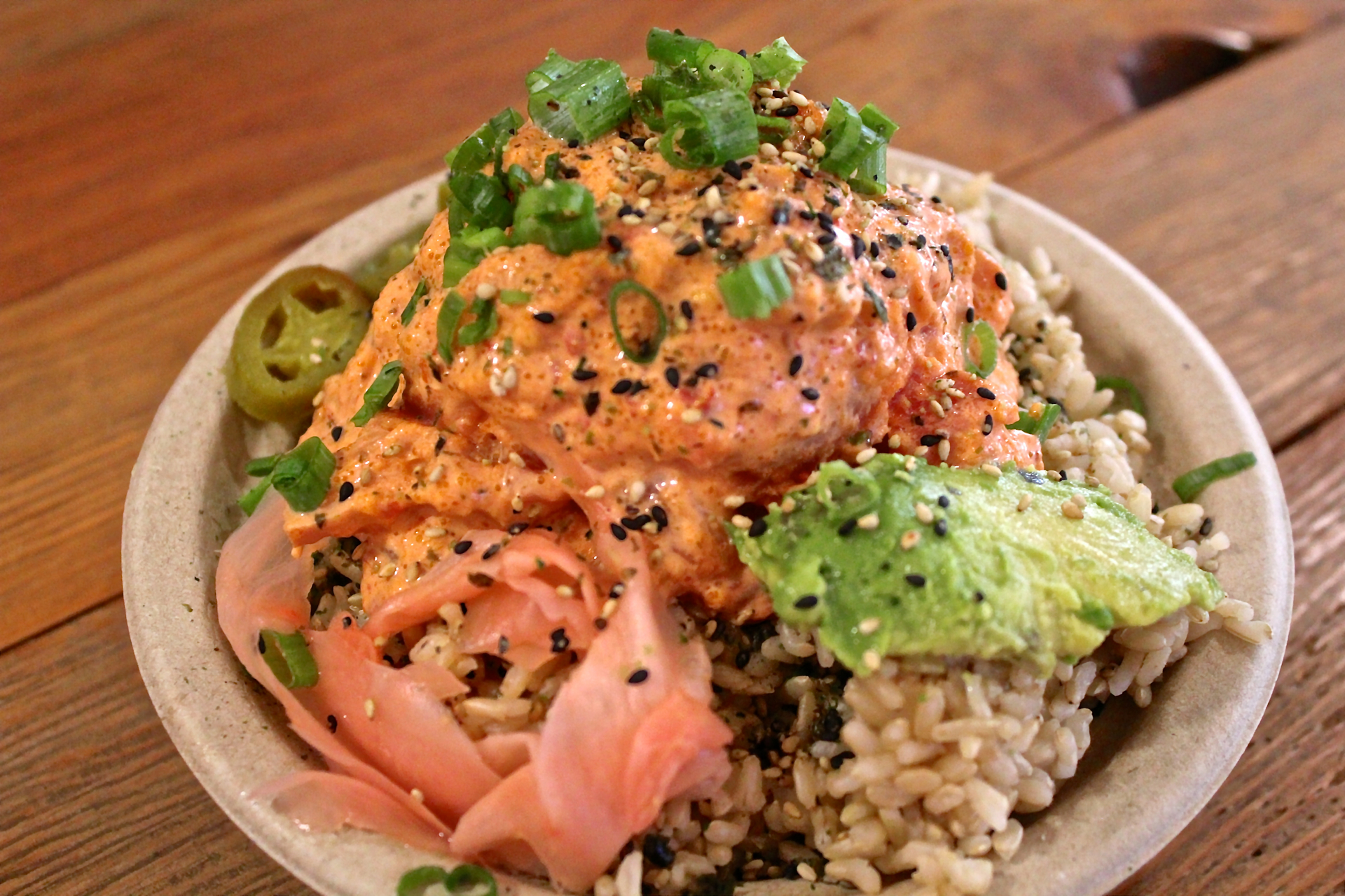 The spicy ahi bowl at Hawaiian Poke Bowl.