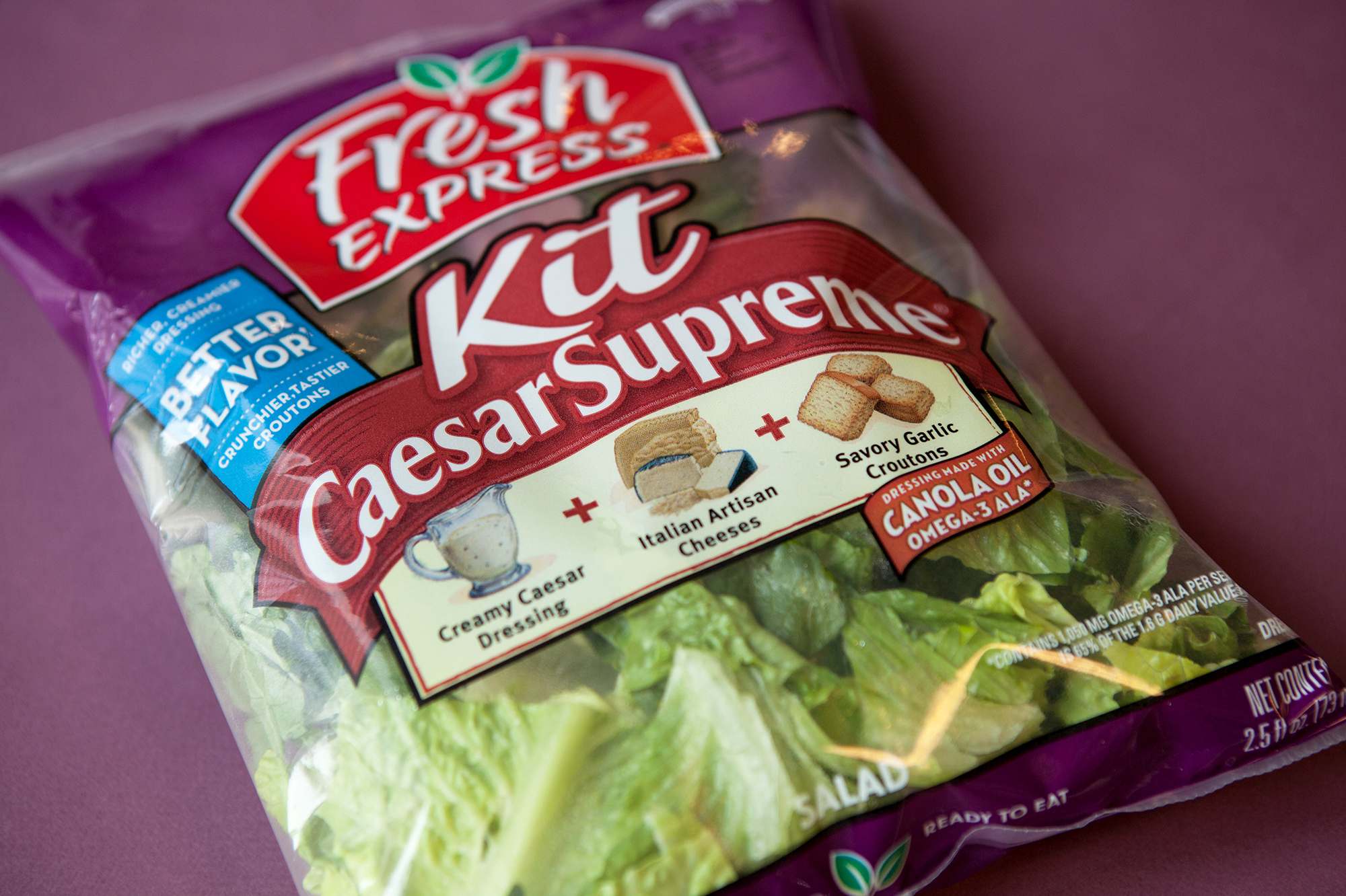 A Caesar salad kit. Americans buy twice as many packages of bagged salad greens as heads of lettuce these days. Is the bagged stuff just as good? If it gets you to eat more leafy greens, yes.