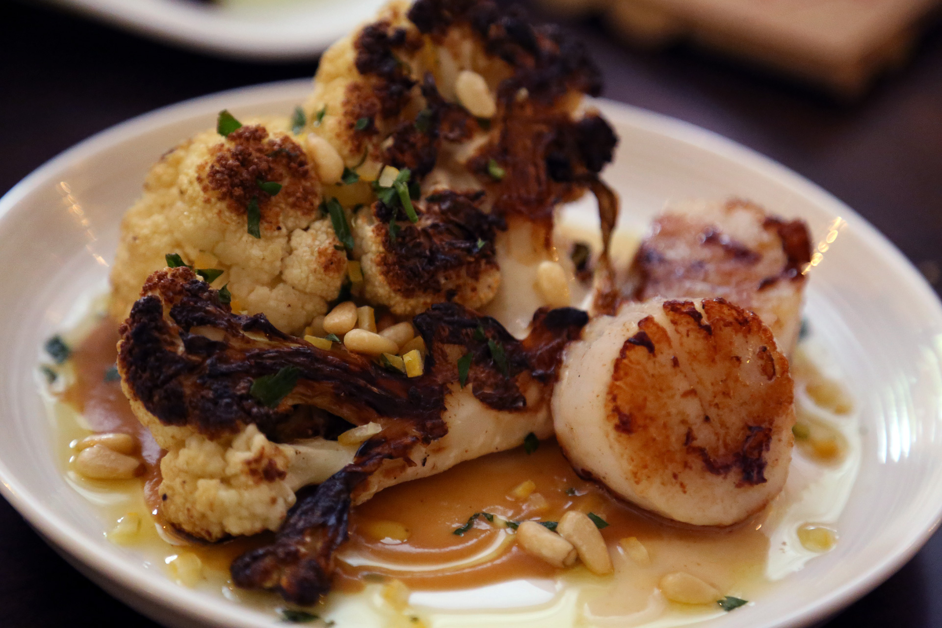 Cauliflower a La Plancha with Barnegat Bay Scallop