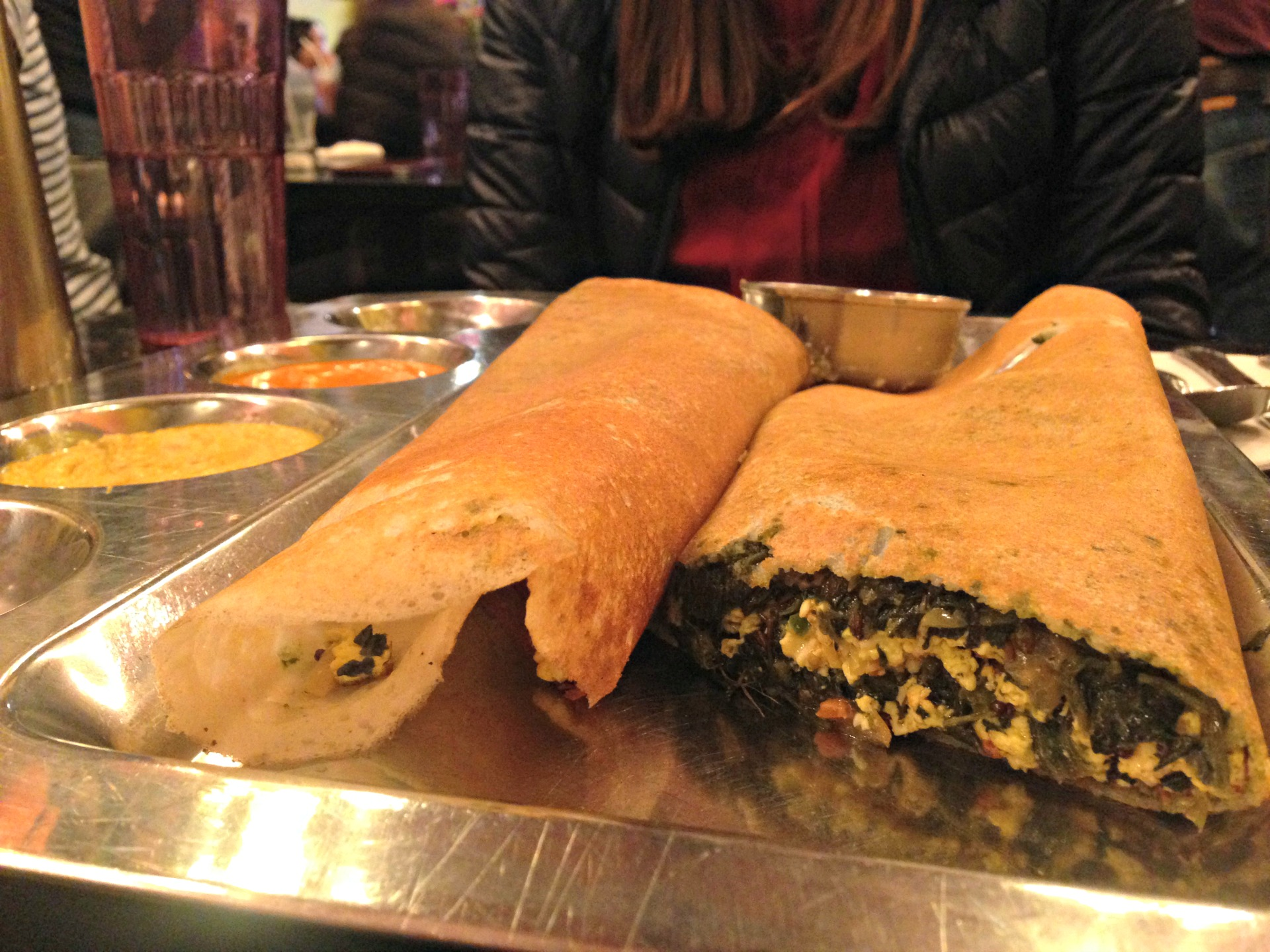 A spinach paneer dosa at Udupi Palace.