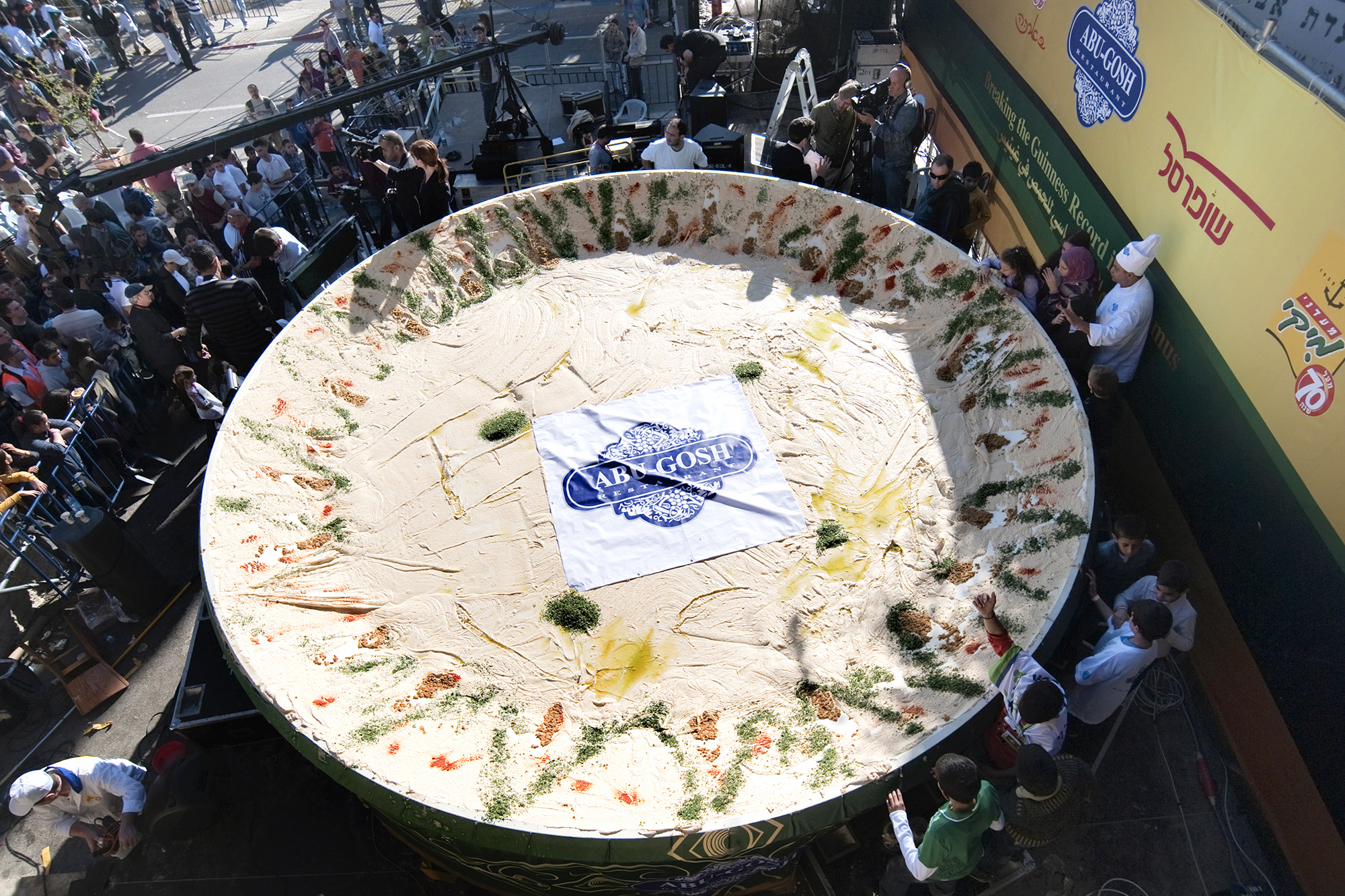 Counterattack: On Jan. 8, 2010, the Arab Israeli village of Abu Gosh served up this giant satellite dish full of hummus, weighing over 4 tons — about twice as much as the previous record set by Lebanon just months earlier.