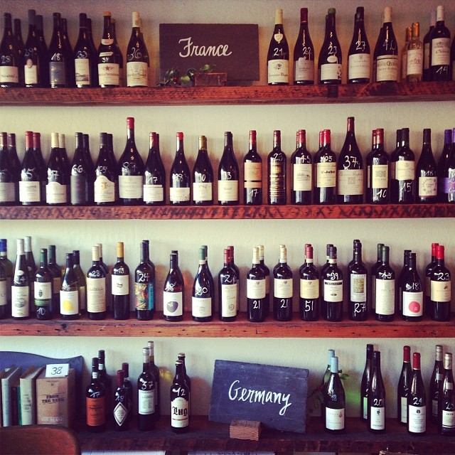 Wines line the shelves at Ordinaire