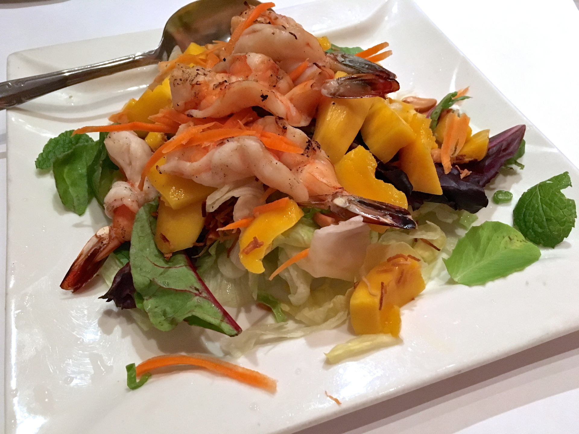 A mango salad with prawns at Bangkok Bay Thai Cuisine.