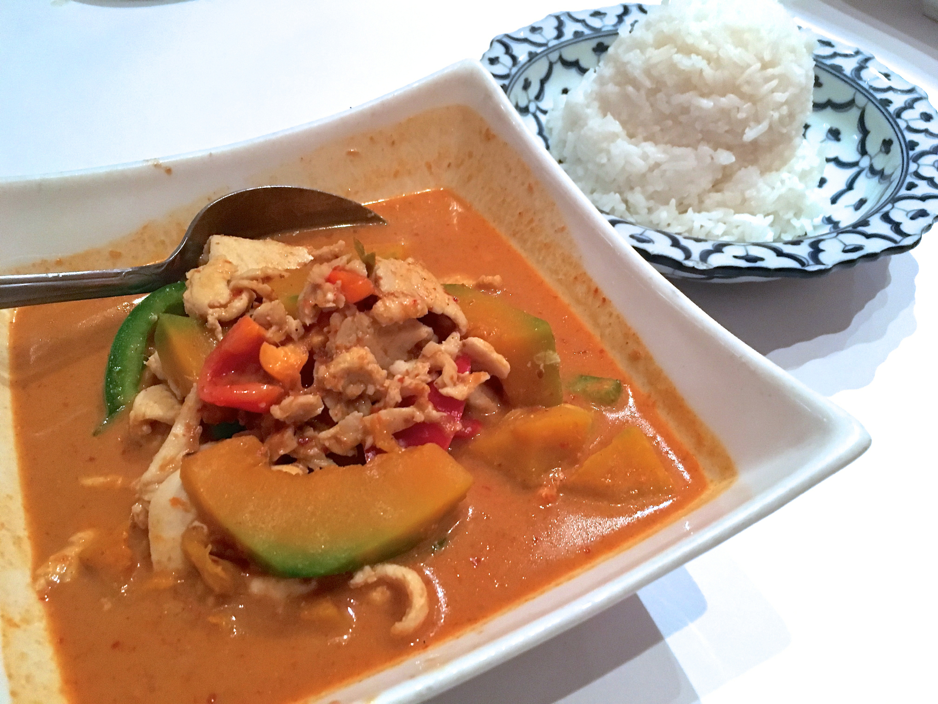 A pumpkin curry with chicken and steamed rice at Bangkok Bay Thai Cuisine.