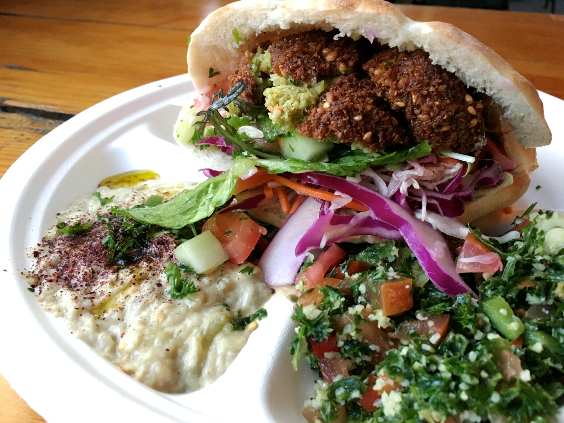 A falafel pita with baba ganoush and tabbouleh at Dish n Dash in Sunnyvale.