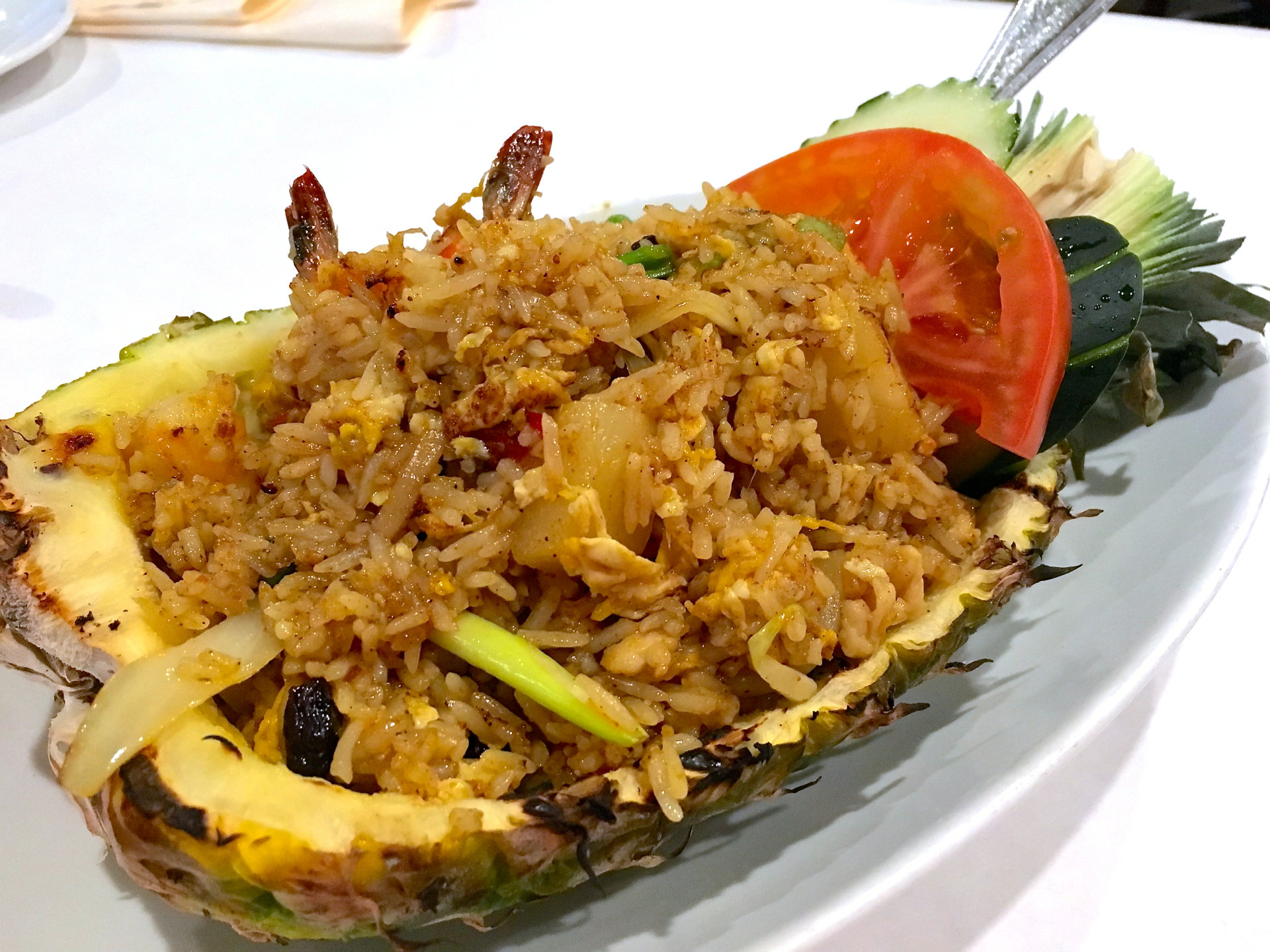 Pineapple fried rice served in a pineapple at Shana Thai.