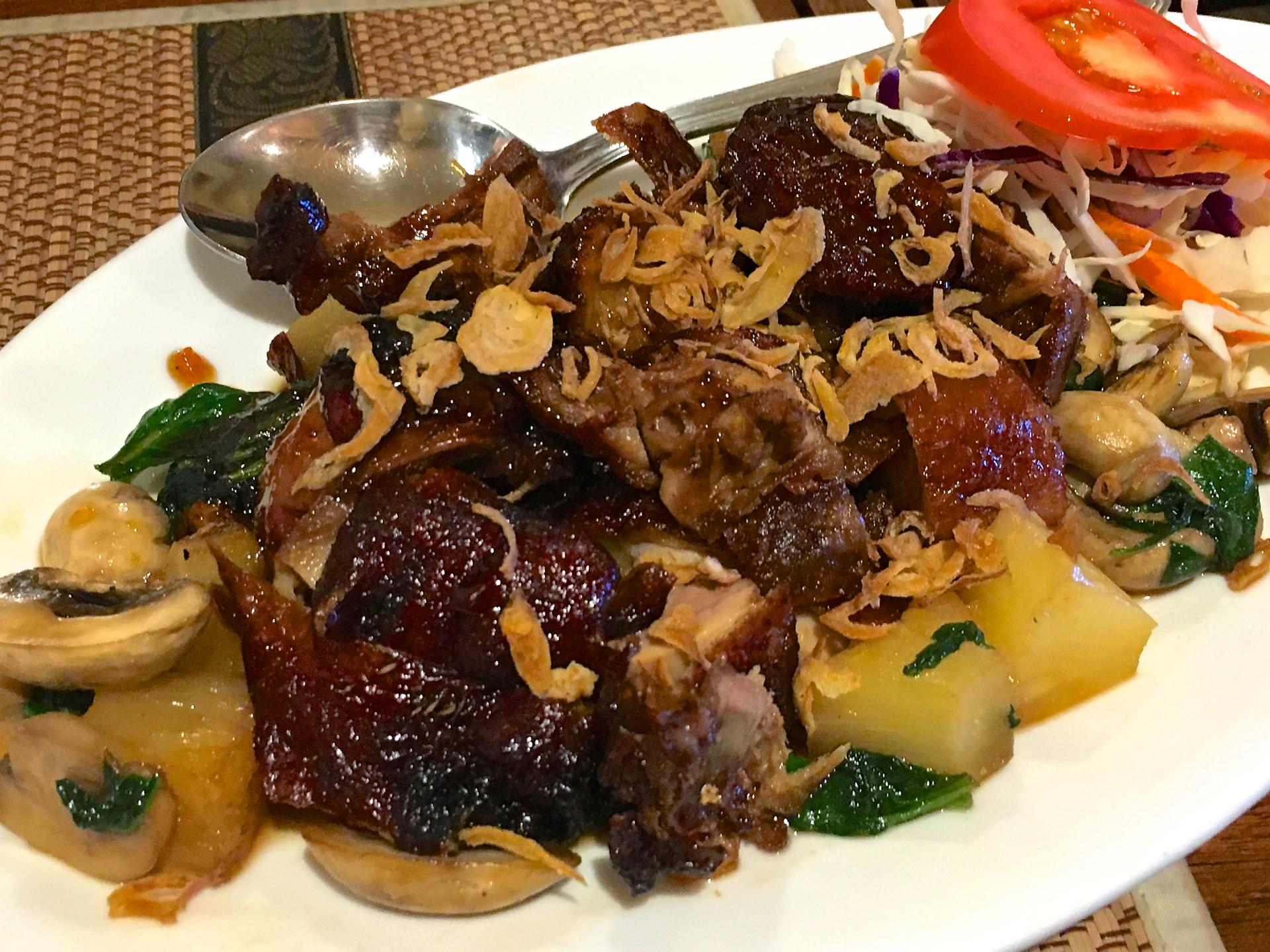 The Tamarind Glazed Duck at Tee Nee Thai Cuisine.