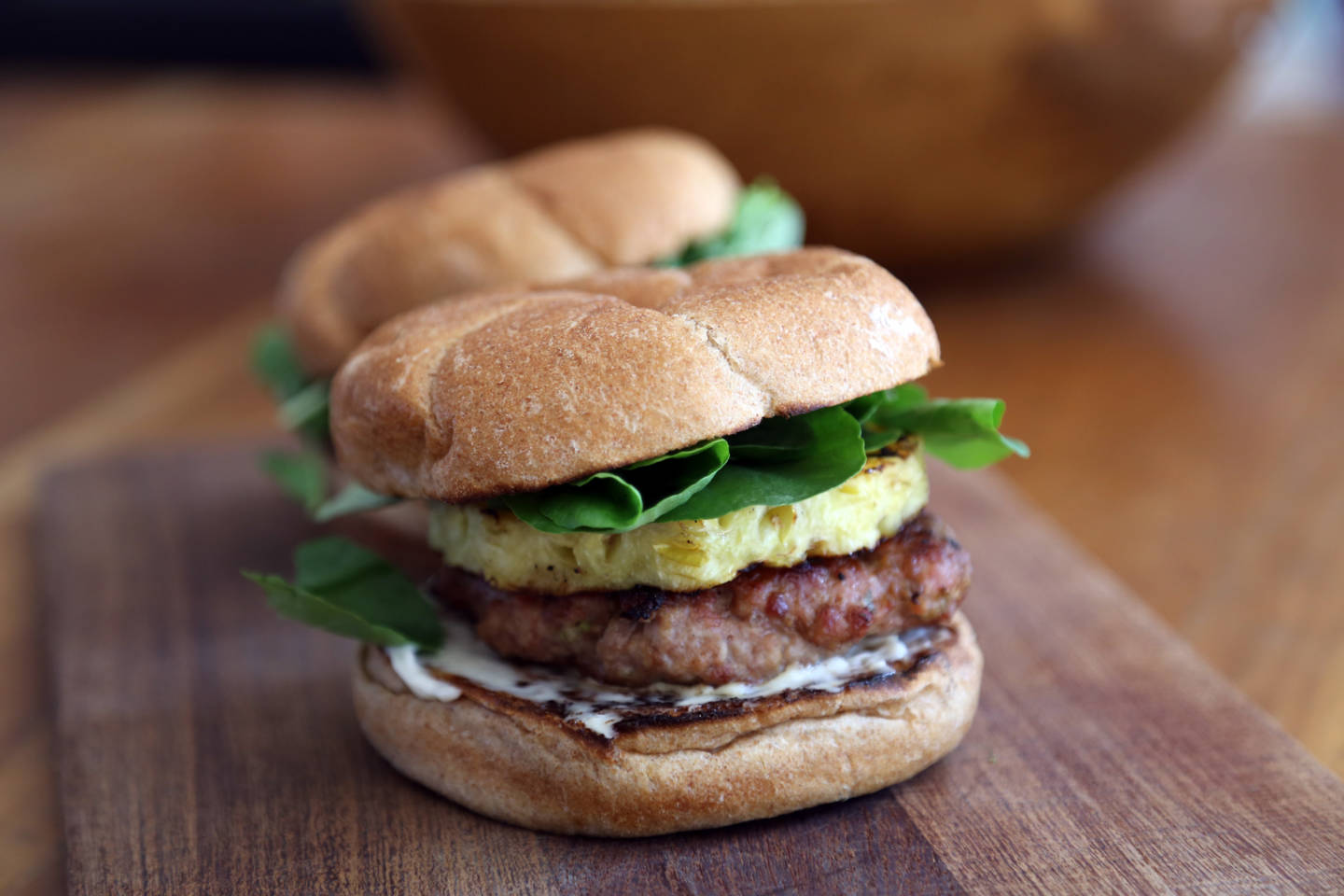 Sesame-Ginger Pork Burgers with Grilled Pineapple Wendy Goodfriend