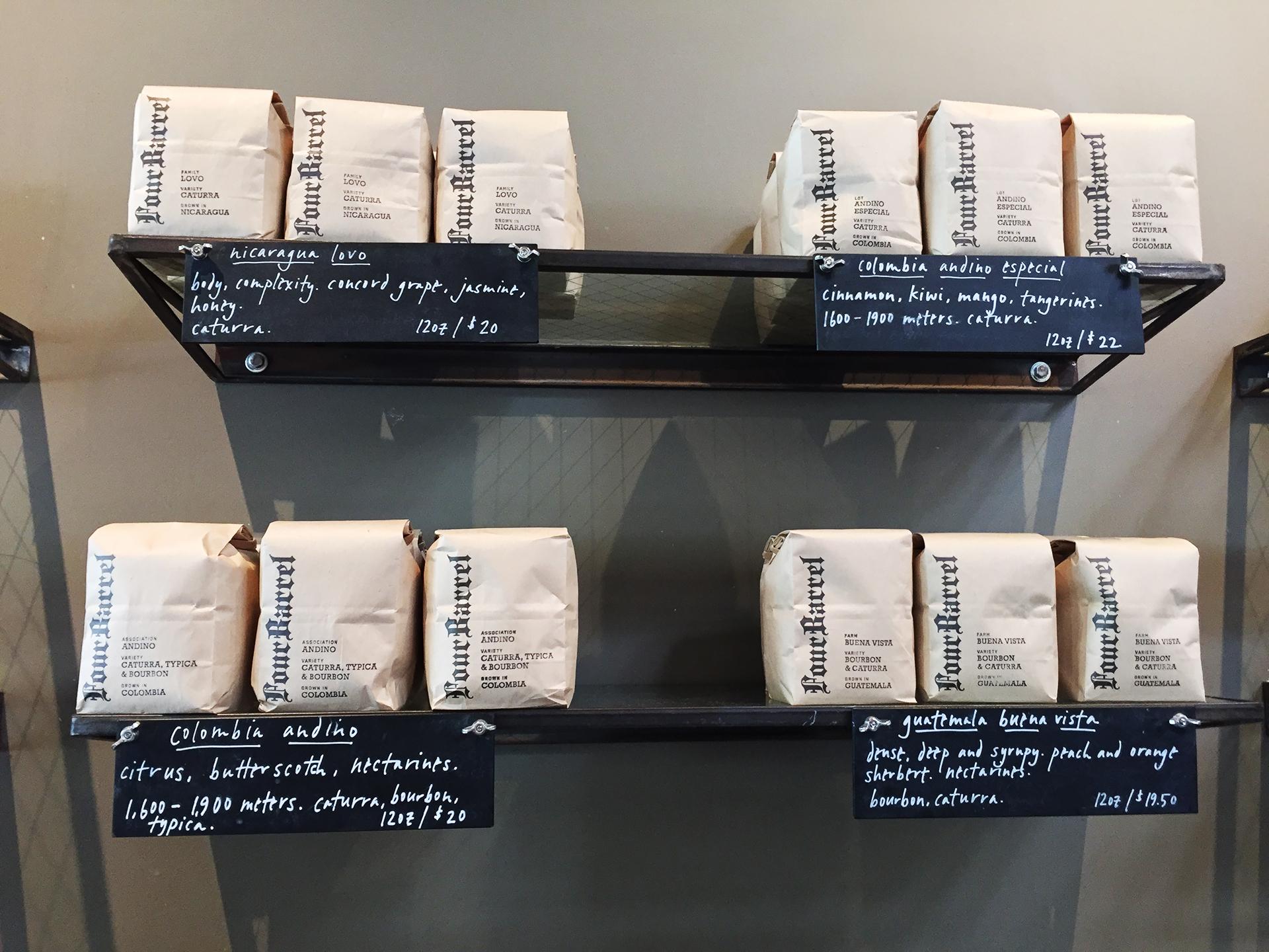 Four Barrel coffee on shelf in shop