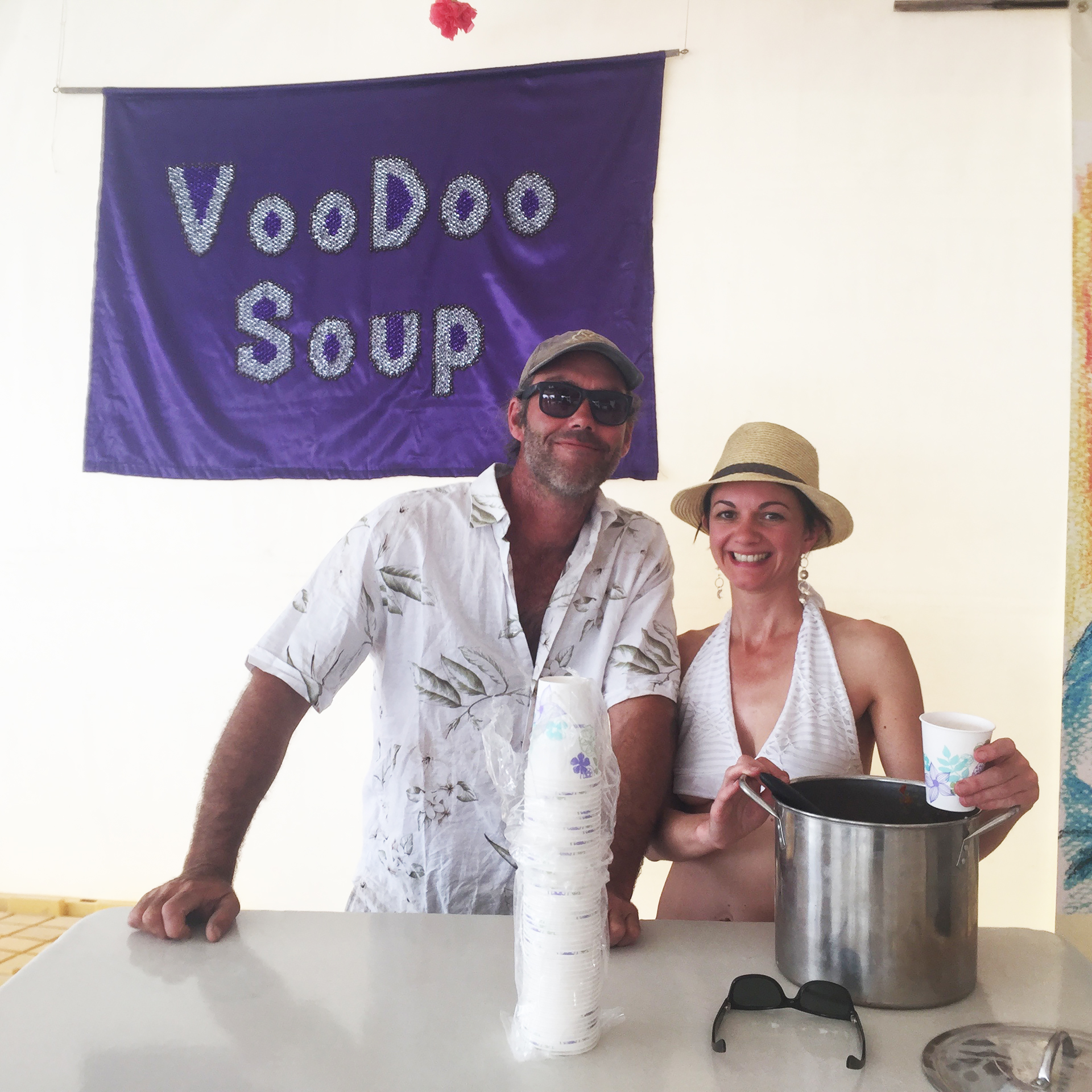 VooDoo Soup Camp serving up some tomato-lime gazpacho.