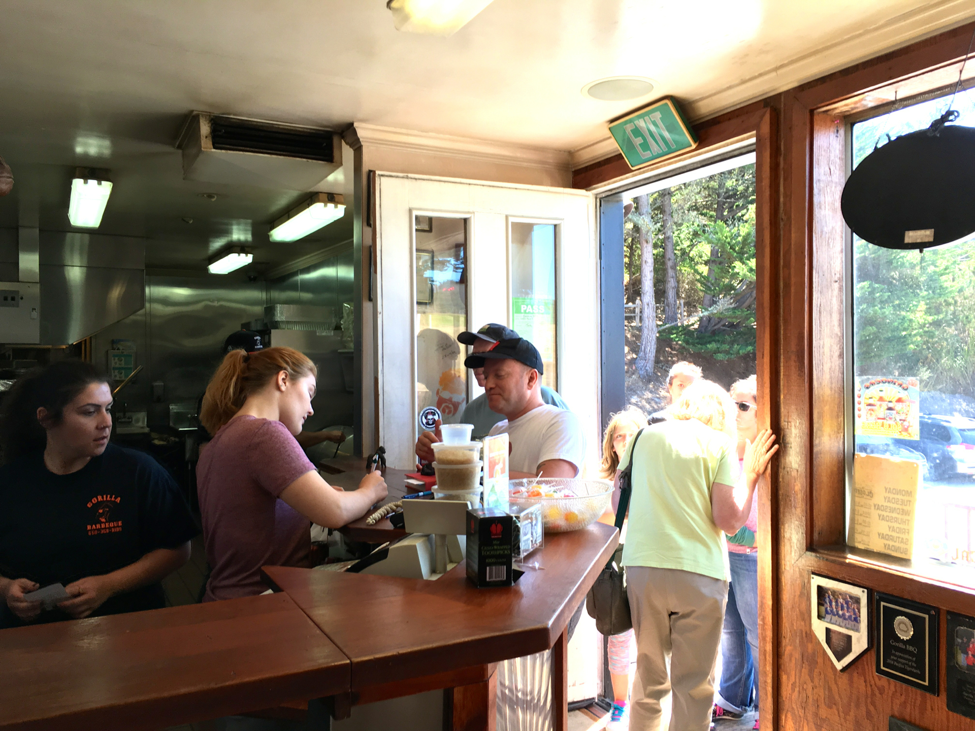 Customers lined up to order at Gorilla BBQ in Pacifica.