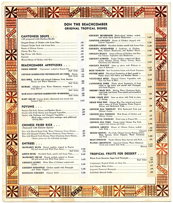 The menu at Don the Beachcomber from 1943. The restaurant opened in 1934 in LA, kicking off the tiki bar craze. The menu was loosely inspired by the tropical flavors that owner Donn Beach encountered during his travels in the South Pacific.
