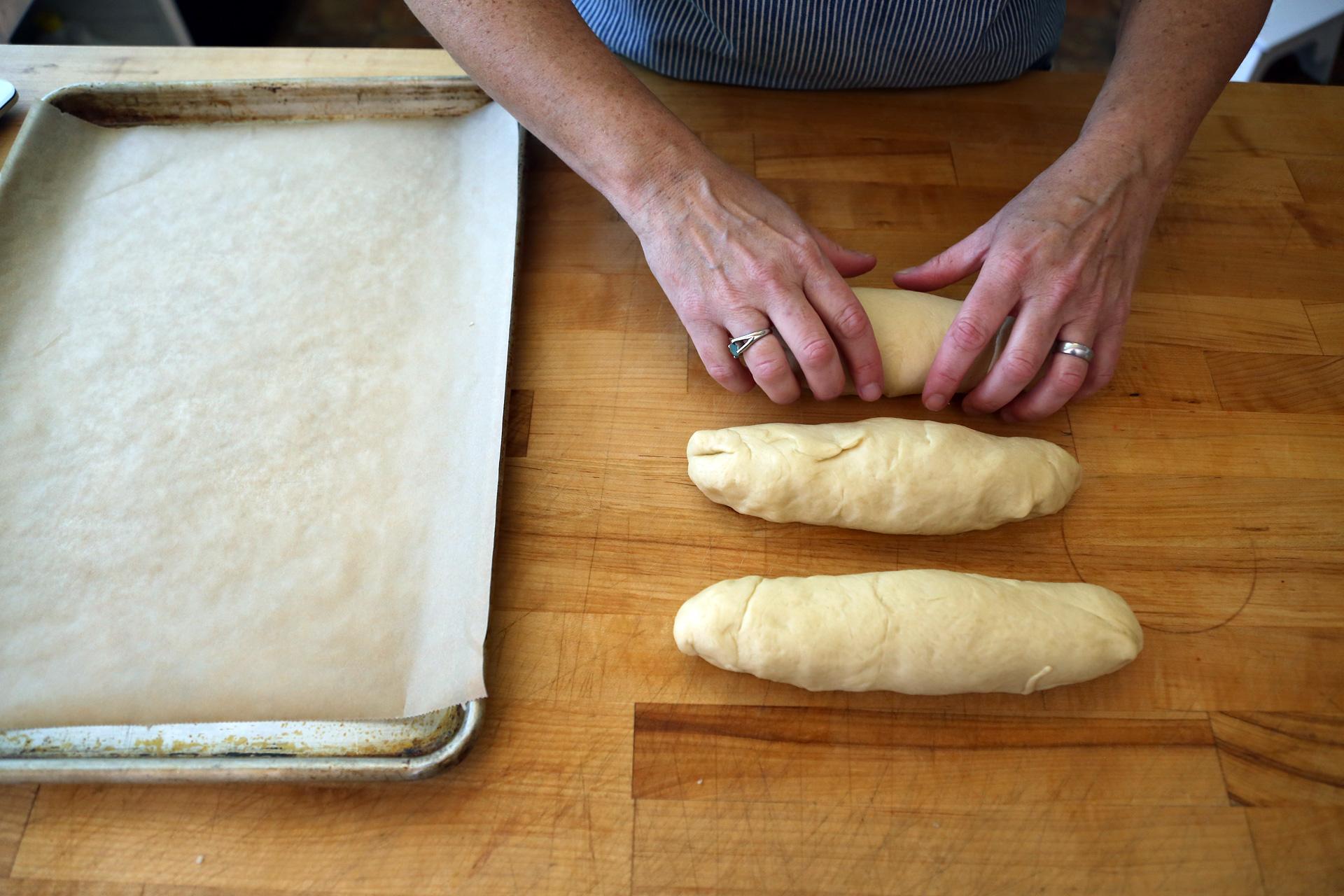 Divide the dough into 3 equal pieces.