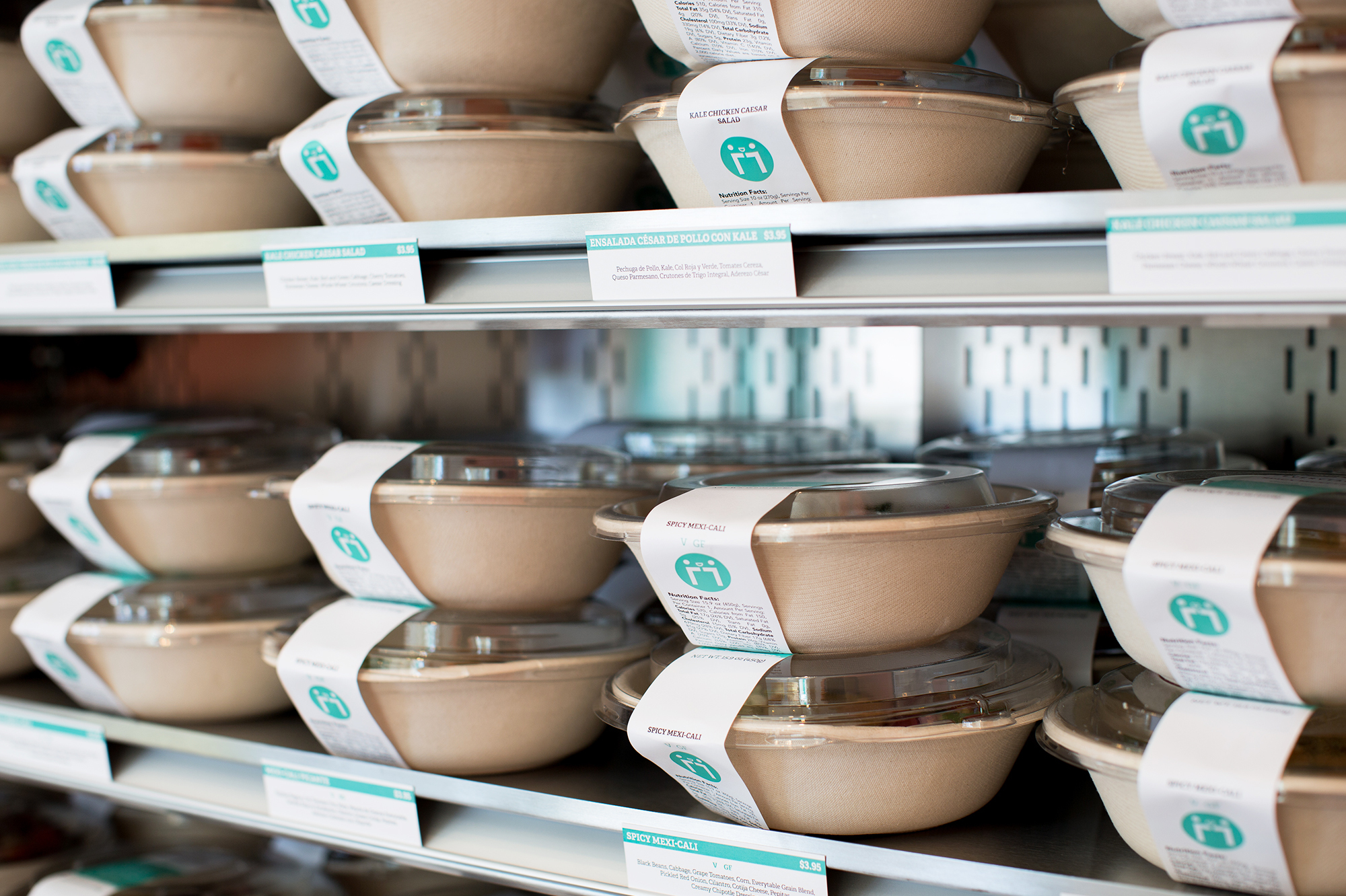 Everytable's meals are prepared in a central kitchen, then packaged in to-go containers. Customers can heat them and eat them at the restaurant or take them home for later.