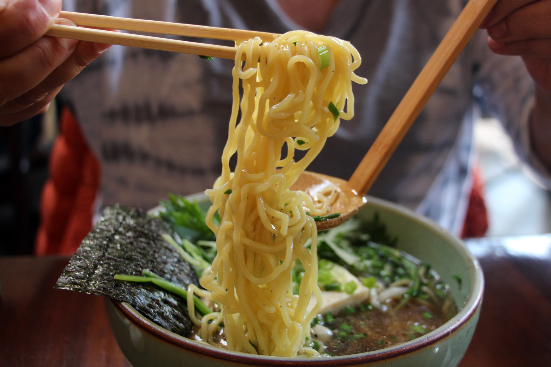 The noodles from the vegetarian shoyu ramen