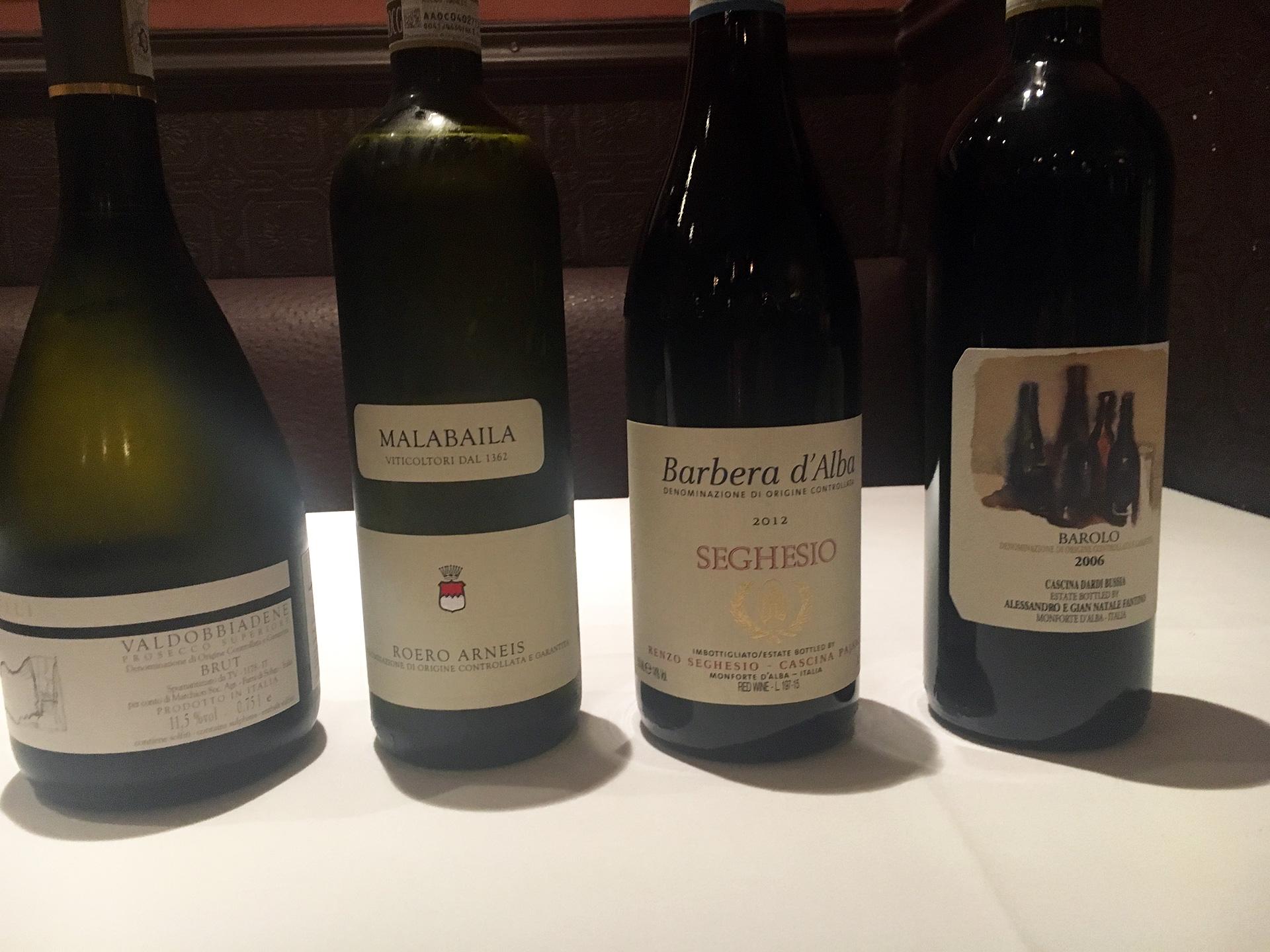 Prosecco, Arneis, Barbera, Barolo at Sociale