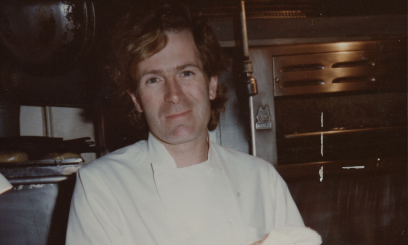 Jeremiah Tower in the Chez Panisse kitchen, 1974.